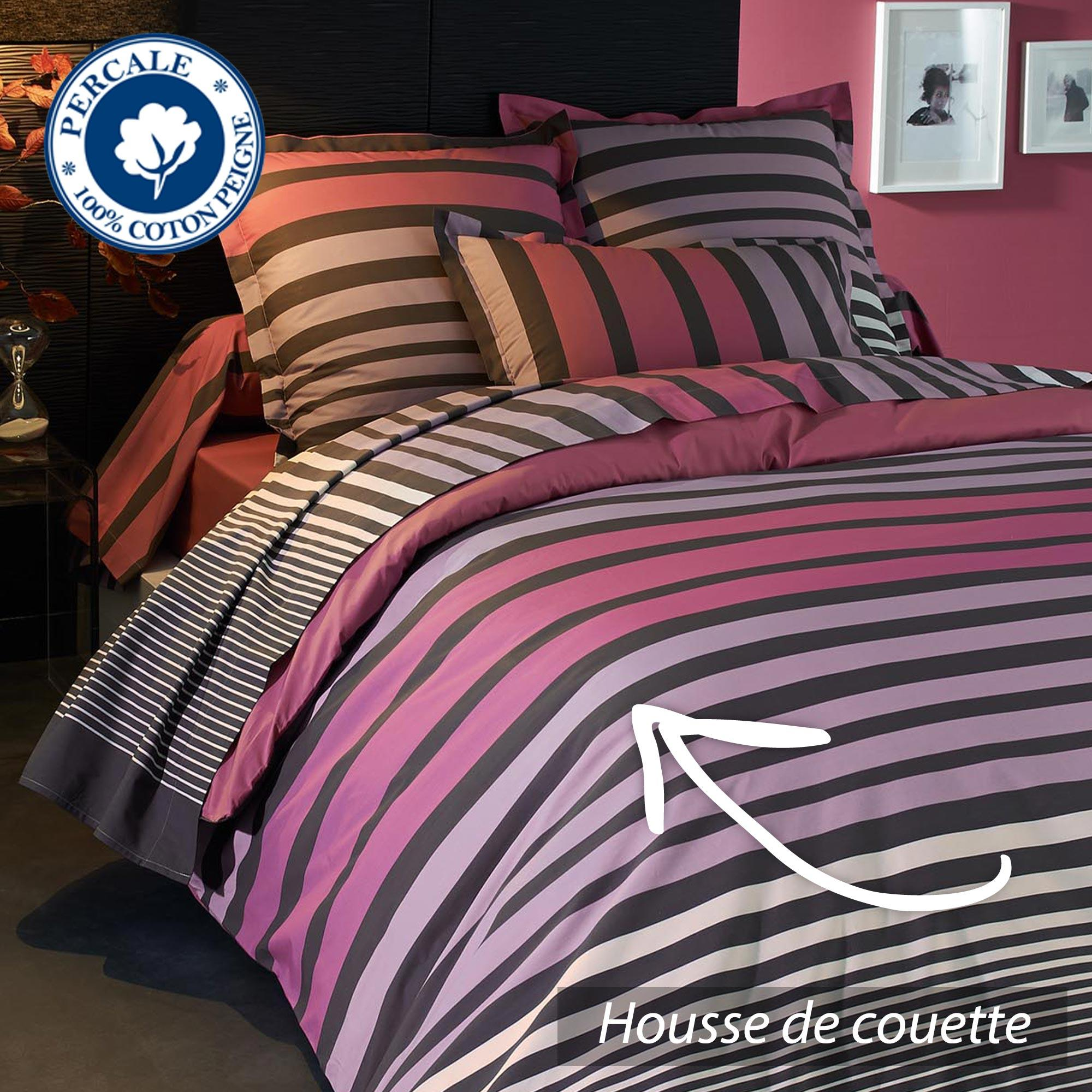 housse de couette percale pur coton peign 260x240 cm stripe camelia linnea vente de linge de. Black Bedroom Furniture Sets. Home Design Ideas