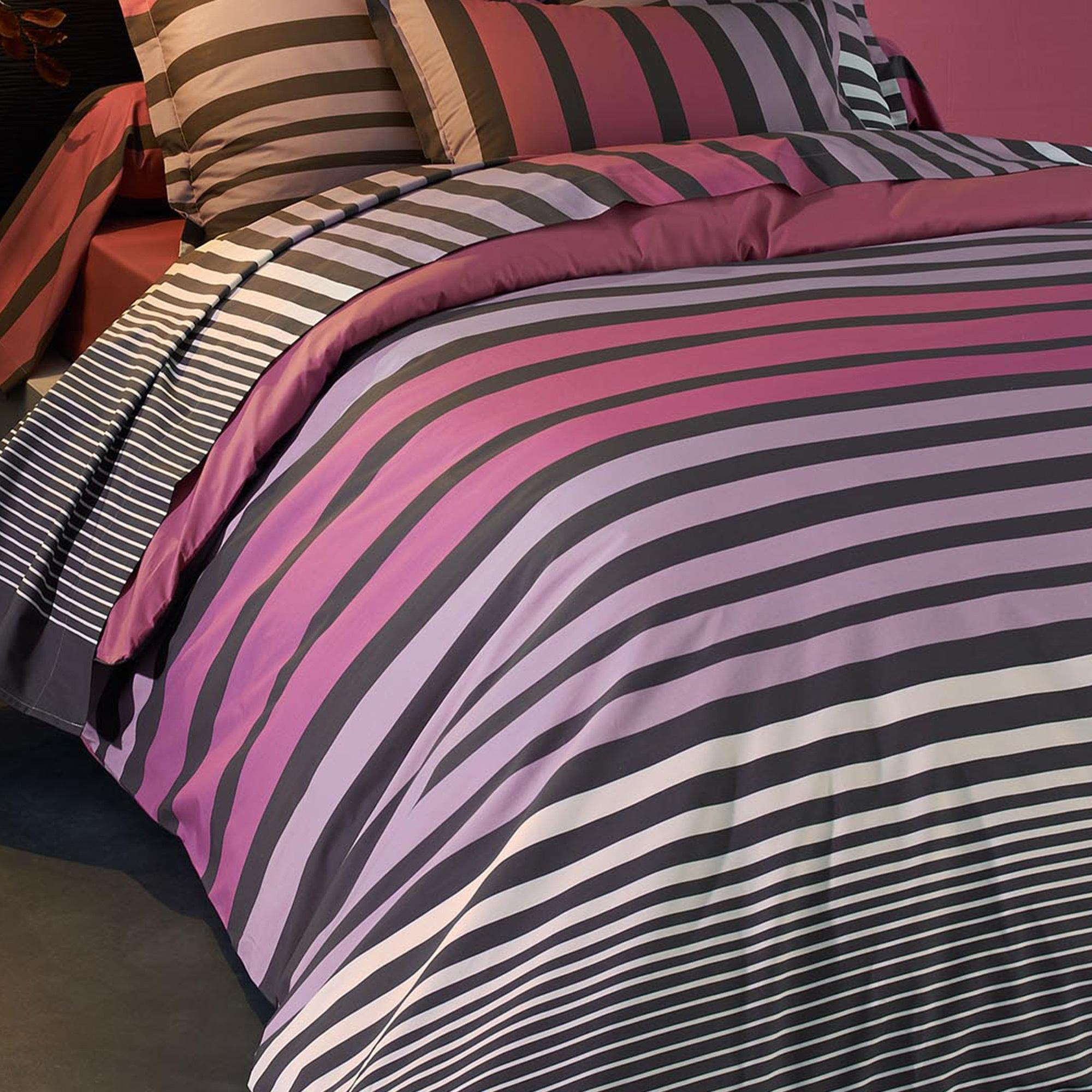 housse de couette 260x240 percale pur coton stripe camelia. Black Bedroom Furniture Sets. Home Design Ideas