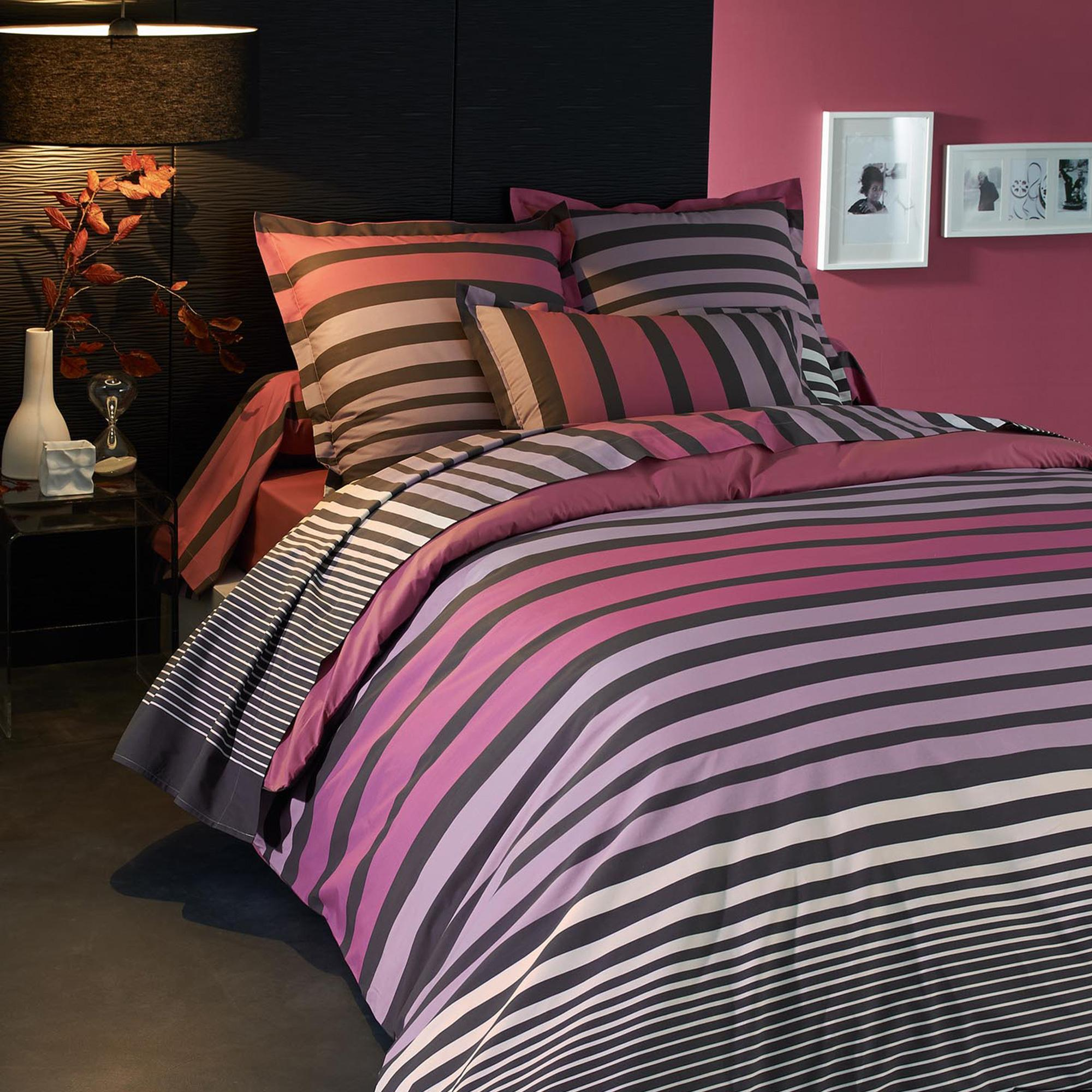 housse de couette 260x240 percale pur coton stripe camelia ebay. Black Bedroom Furniture Sets. Home Design Ideas