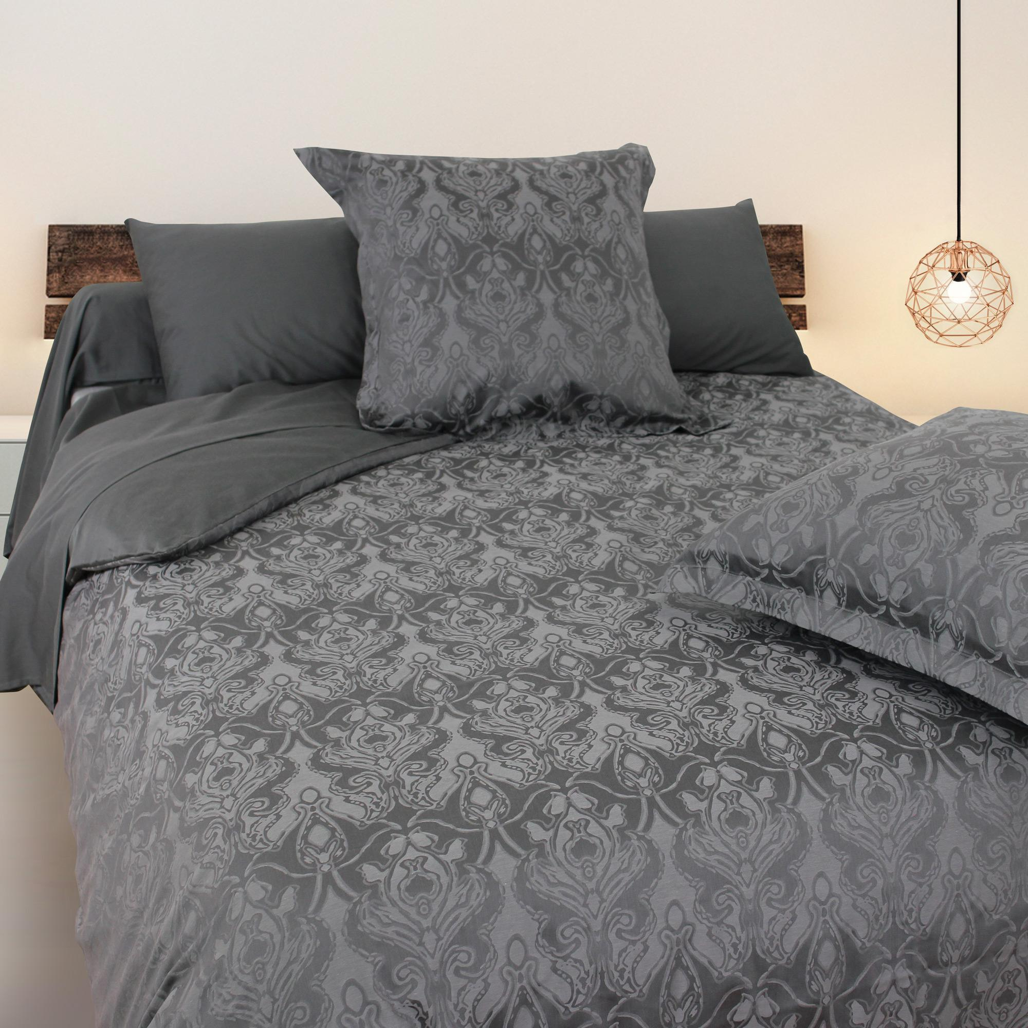 housse de couette 260x240 satin de coton vosges gris fonc ebay. Black Bedroom Furniture Sets. Home Design Ideas