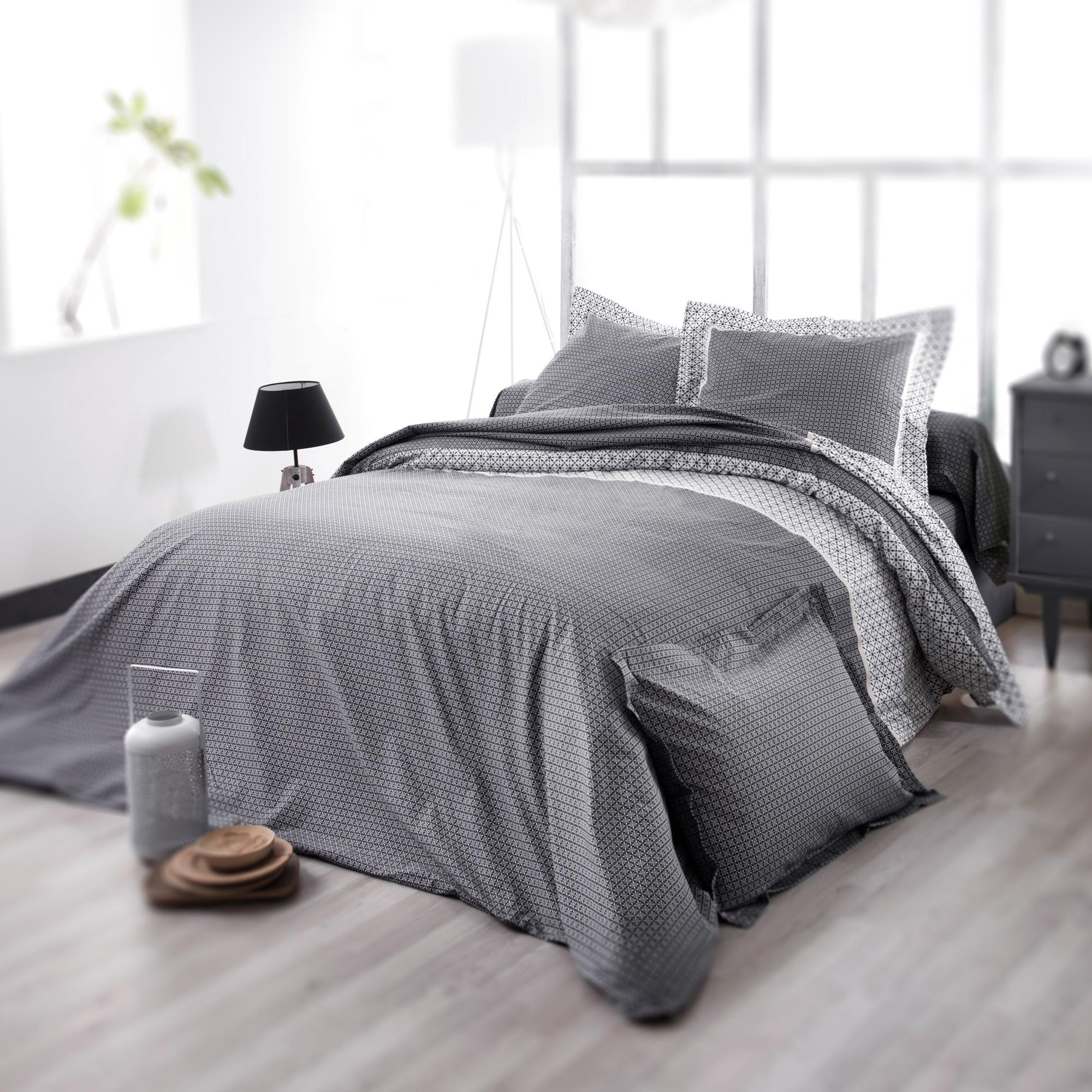 Housse De Couette Noir Blanc Gris housse de couette 260x240 cm satin de coton wesley gris noir