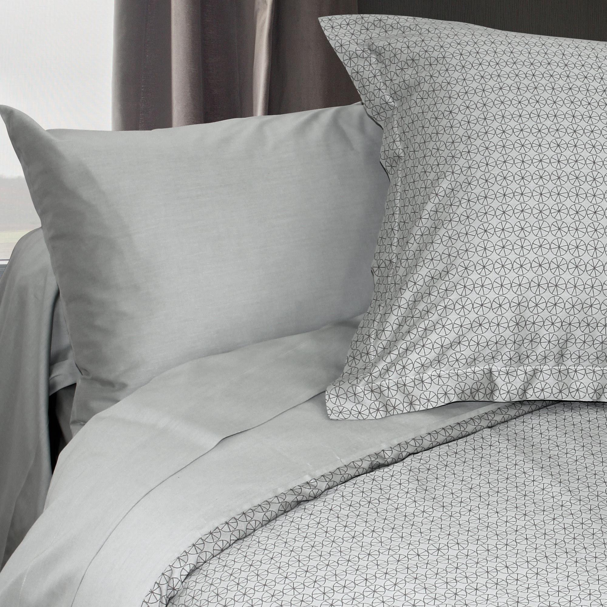 housse de couette 280x240 satin de coton etoile gris clair ebay. Black Bedroom Furniture Sets. Home Design Ideas