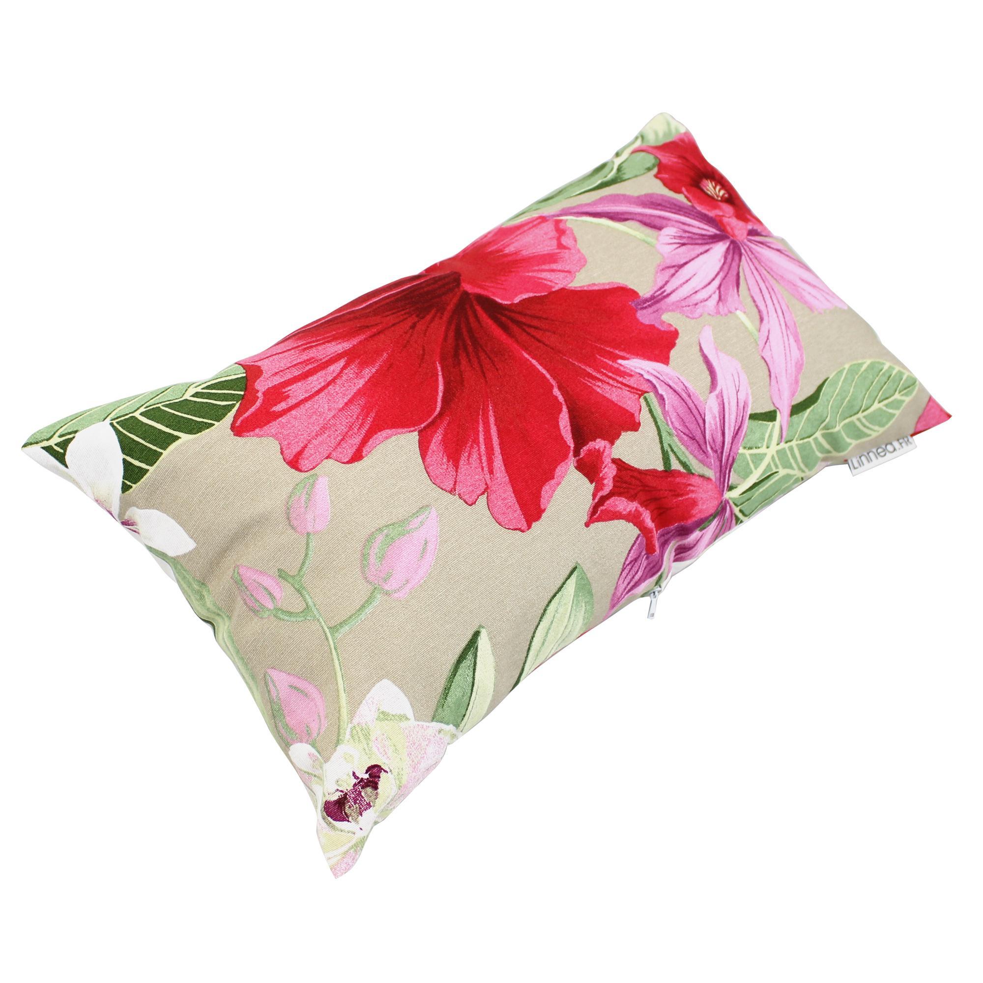 housse de coussin 30x50 cm carita rose de chine polycoton linnea linge de maison et. Black Bedroom Furniture Sets. Home Design Ideas