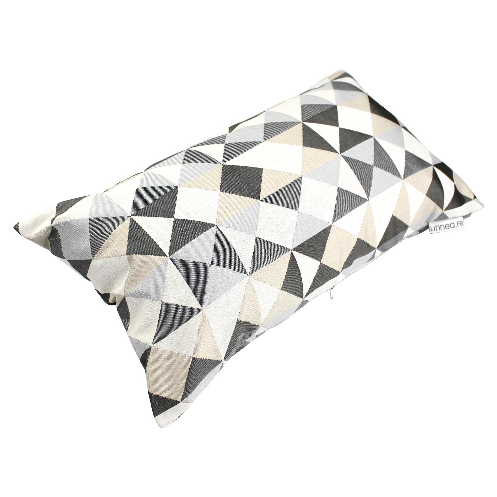 housse de coussin 30x50 cm diolo eclats beiges et gris polycoton linnea linge de maison et. Black Bedroom Furniture Sets. Home Design Ideas