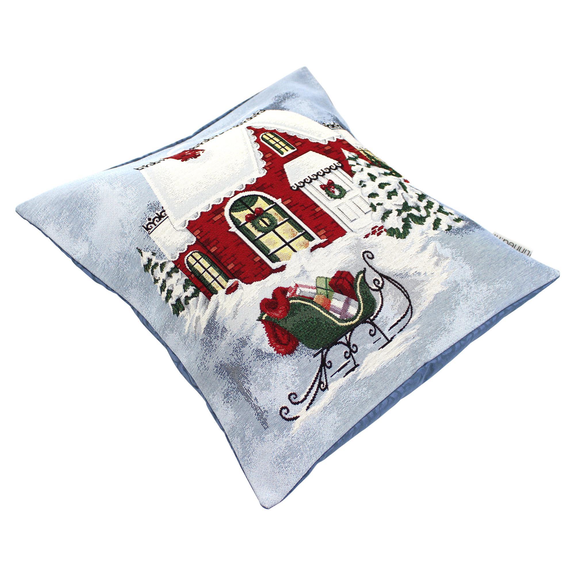 housse de coussin 45x45 cm elmo maison du p re no l polycoton acrylique linnea linge de. Black Bedroom Furniture Sets. Home Design Ideas