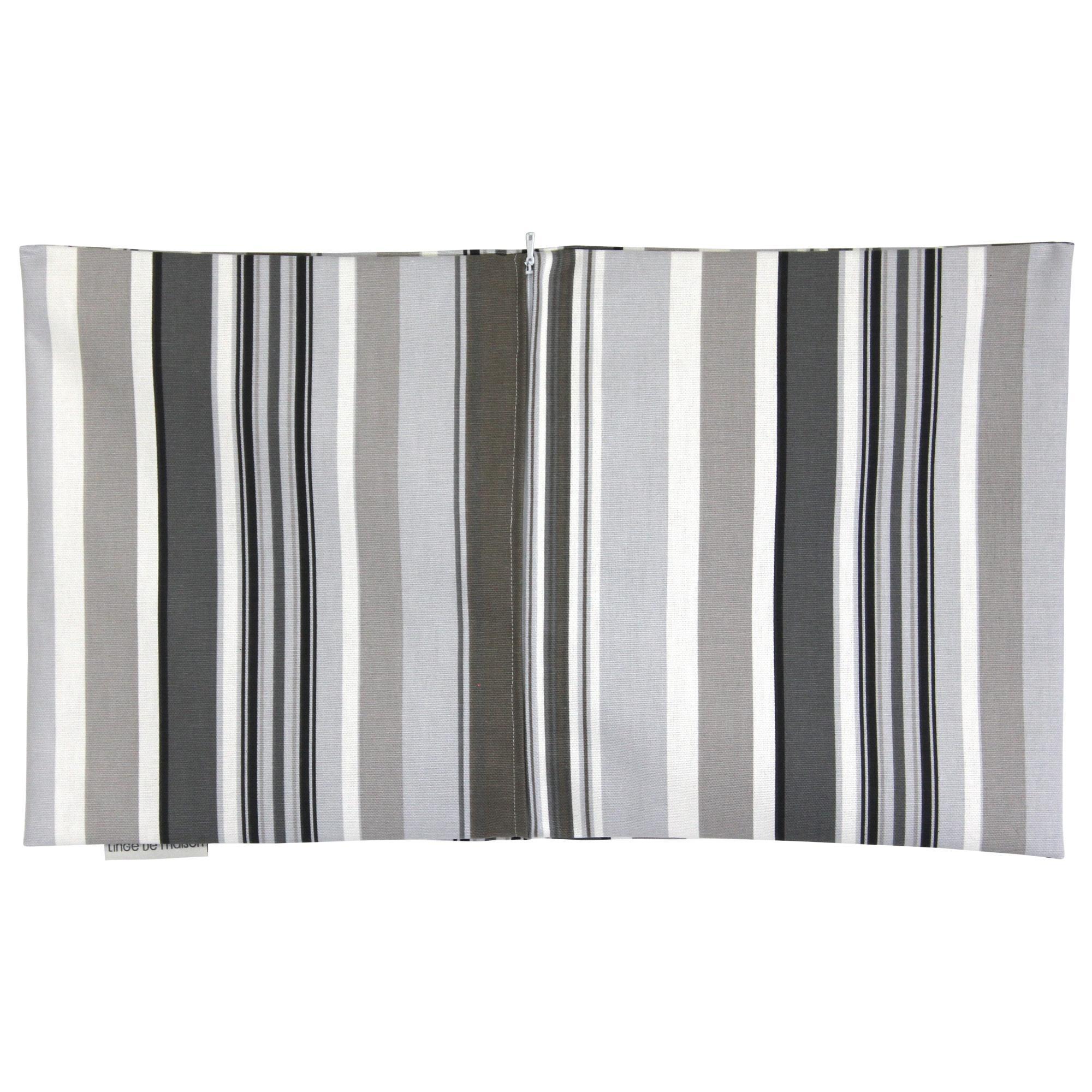 housse de coussin 30x50 giraudo lignes marrons grises 100 coton ebay. Black Bedroom Furniture Sets. Home Design Ideas