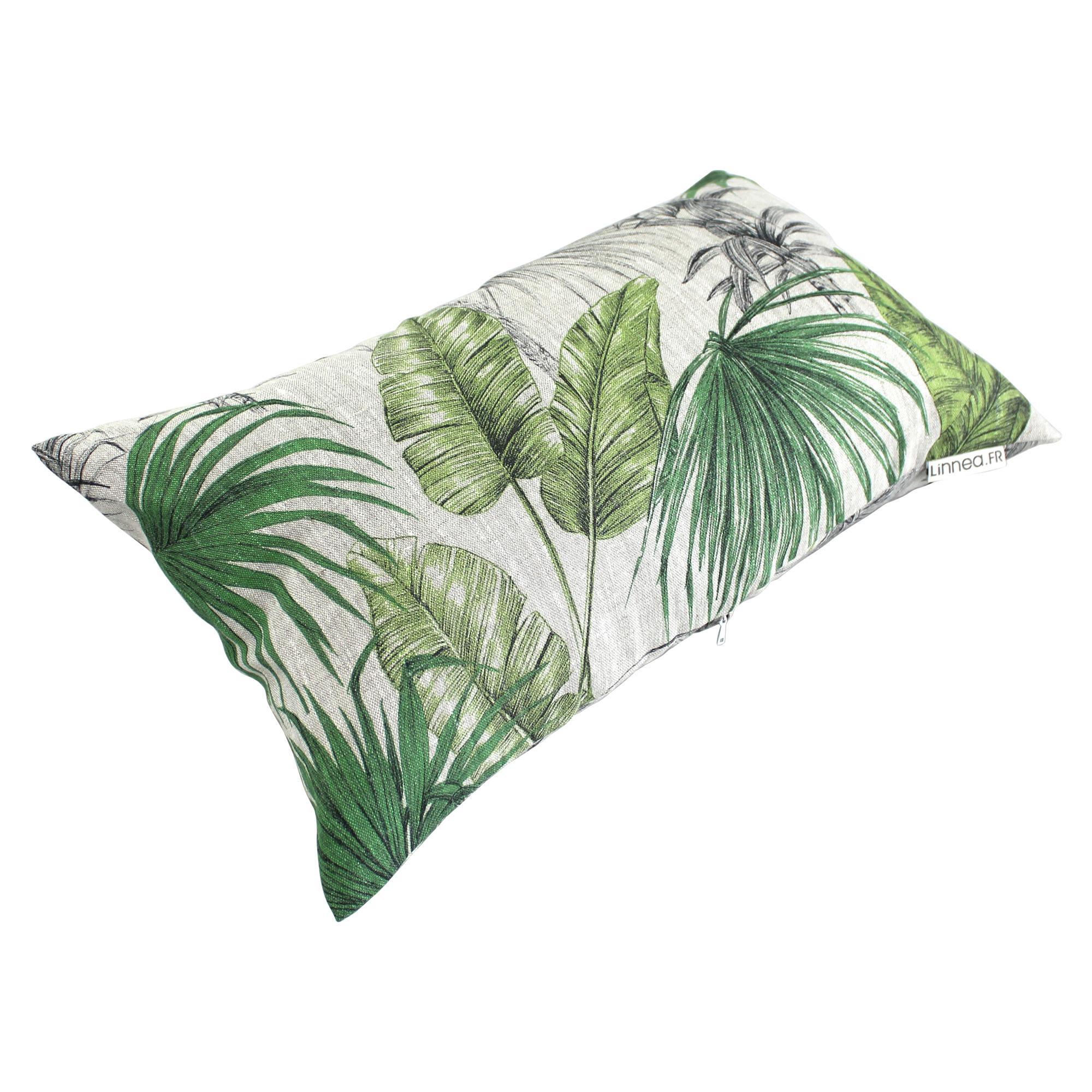 housse de coussin 30x50 cm tatti jungle 100 lin. Black Bedroom Furniture Sets. Home Design Ideas