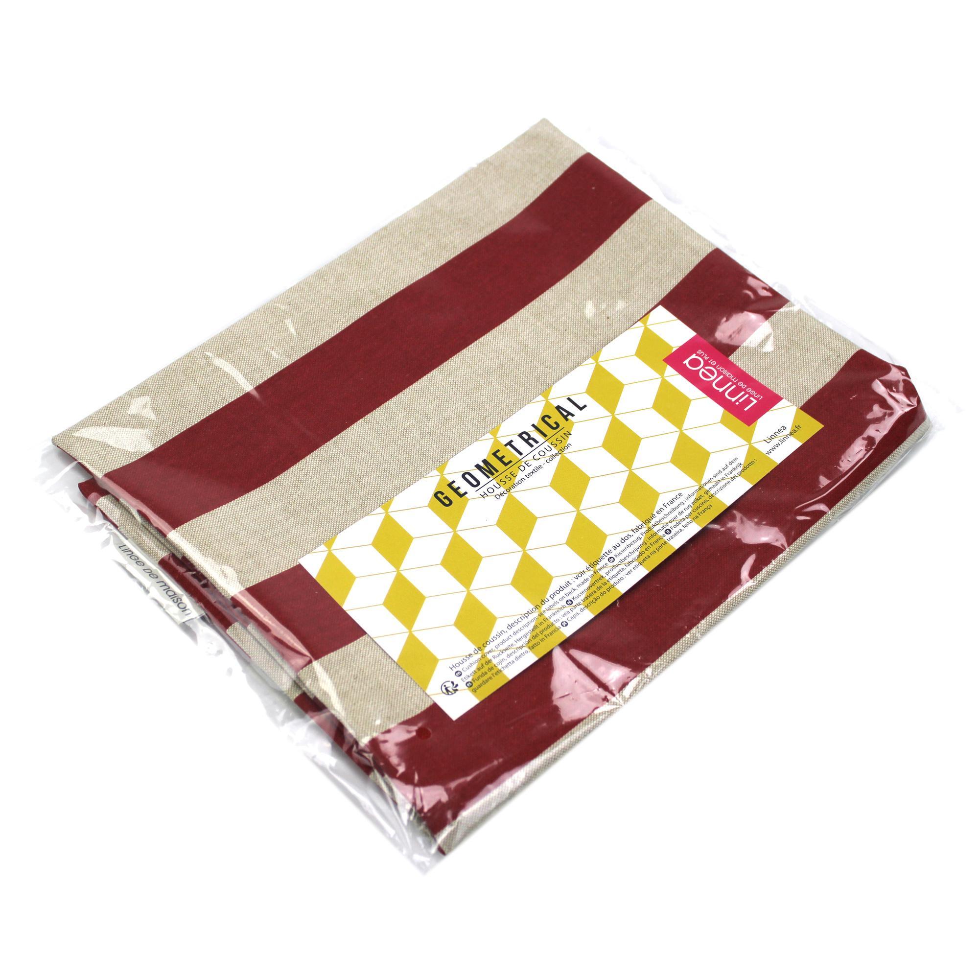 housse de coussin 30x50 cm torcello rayures rouges polycoton linnea linge de maison et. Black Bedroom Furniture Sets. Home Design Ideas