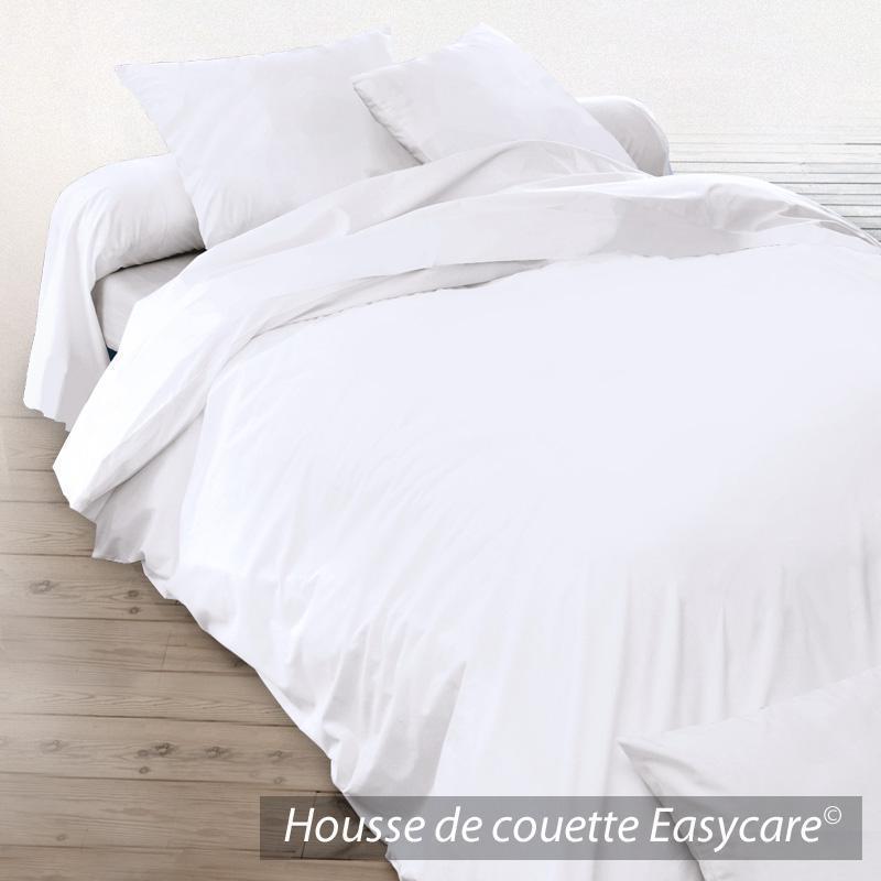 Housse de couette 300x240cm uni pur coton alto blanc for Housse de couette blanc