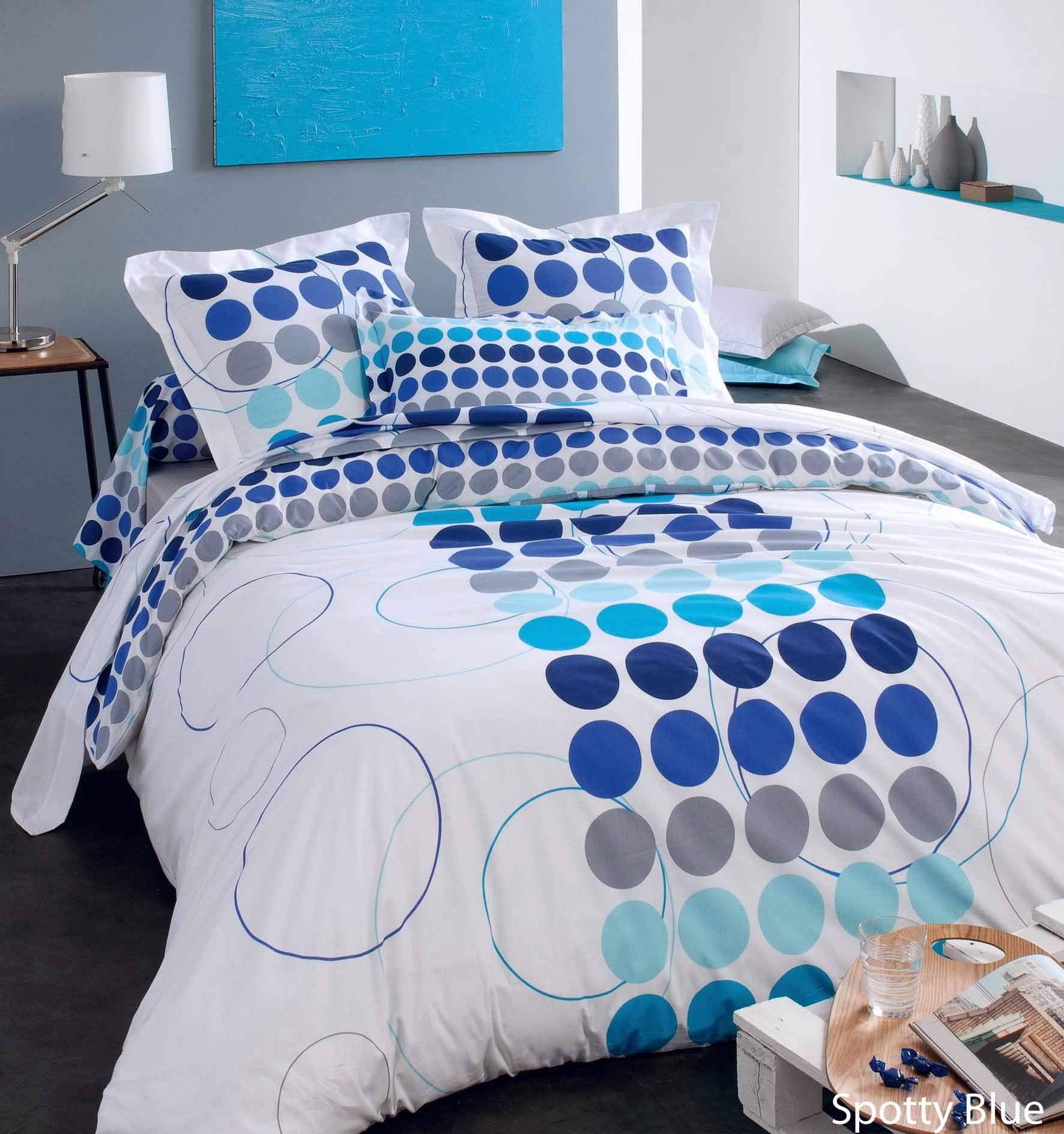 housse de couette spotty bleu coton 260x240 ebay. Black Bedroom Furniture Sets. Home Design Ideas