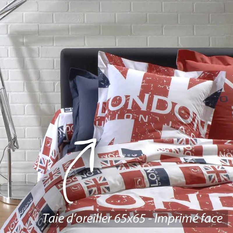 taie d 39 oreiller 65x65 cm london union jack linnea vente de linge de maison. Black Bedroom Furniture Sets. Home Design Ideas