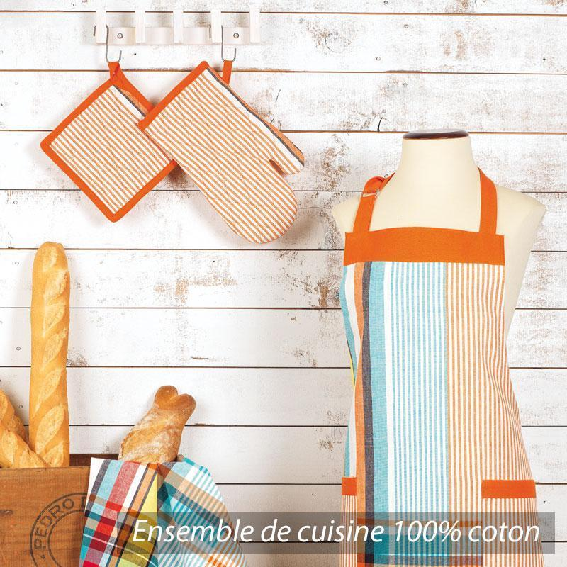 set de cuisine cocina 4 pieces tablier gant manique et torchon carreaux orange et bleu. Black Bedroom Furniture Sets. Home Design Ideas
