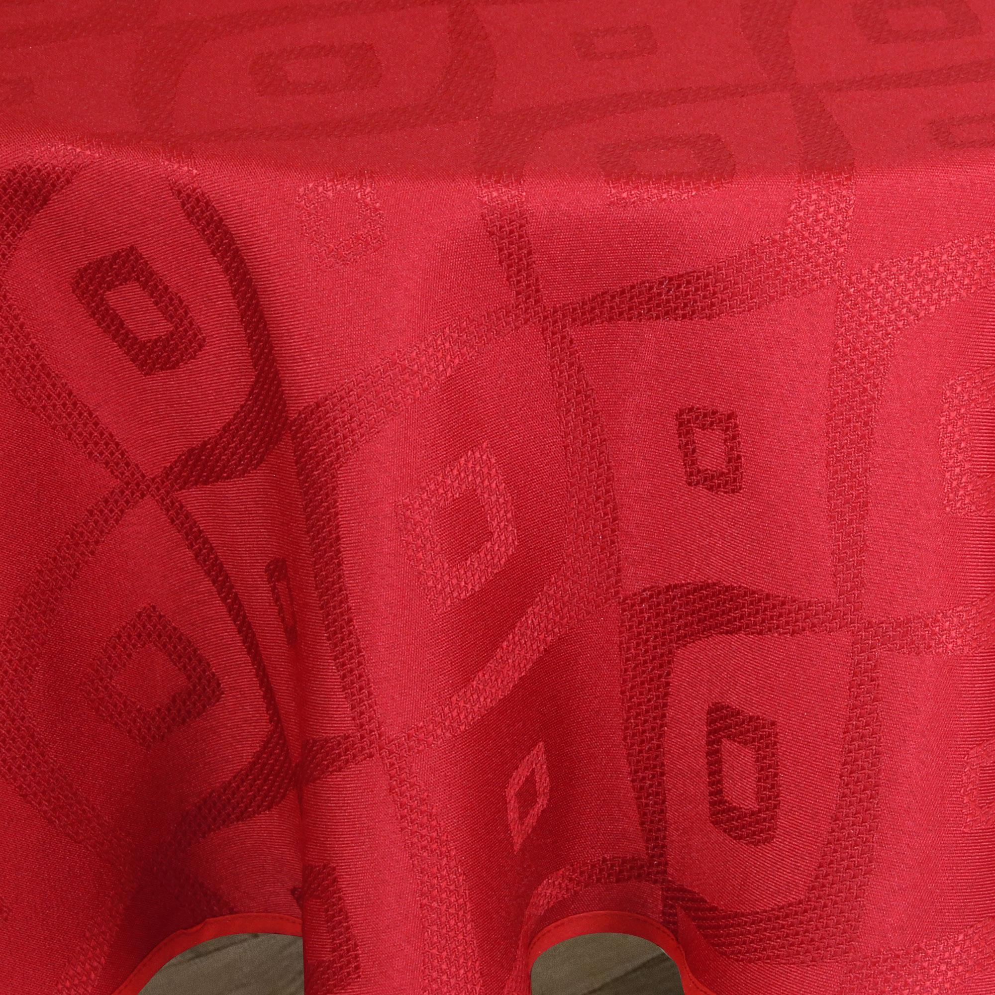 nappe ovale 180x240 cm jacquard 100 polyester brunch rouge linnea linge de maison et. Black Bedroom Furniture Sets. Home Design Ideas