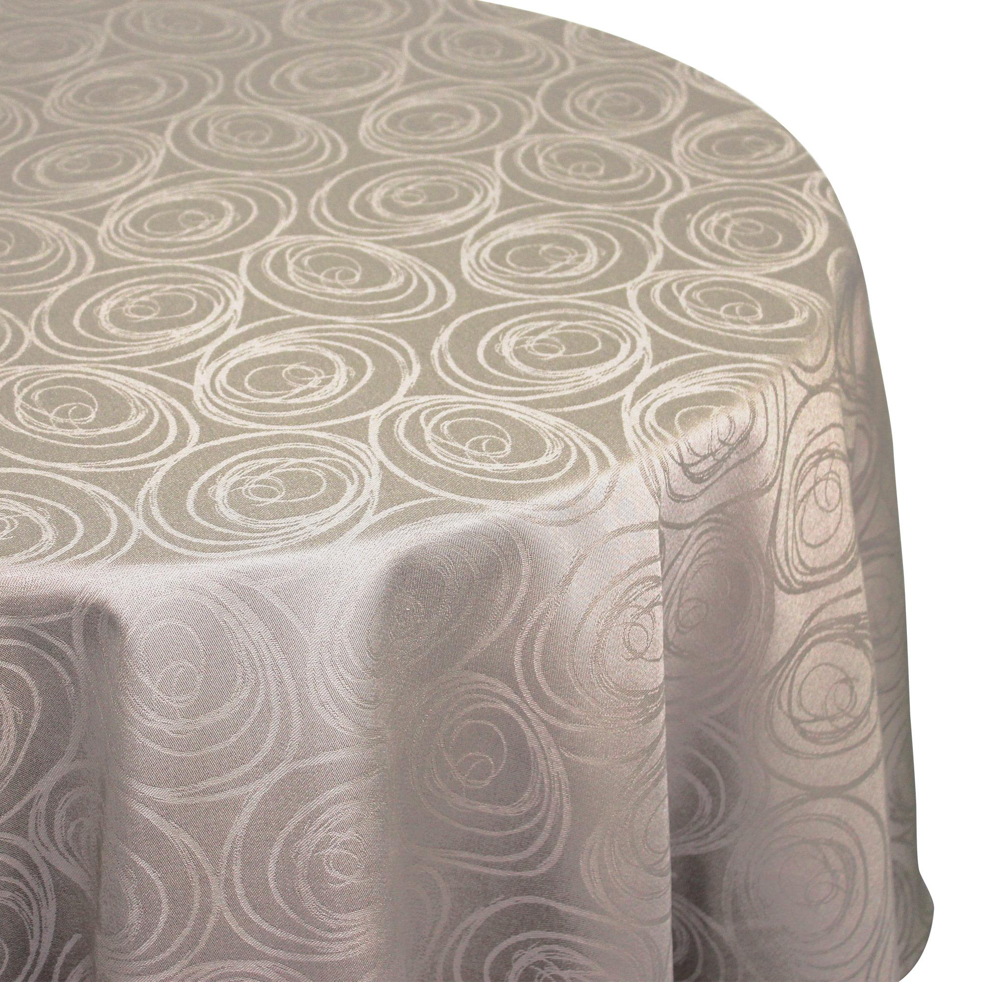 nappe ovale 180x240 cm jacquard 100 coton spirale taupe linnea linge de maison et. Black Bedroom Furniture Sets. Home Design Ideas