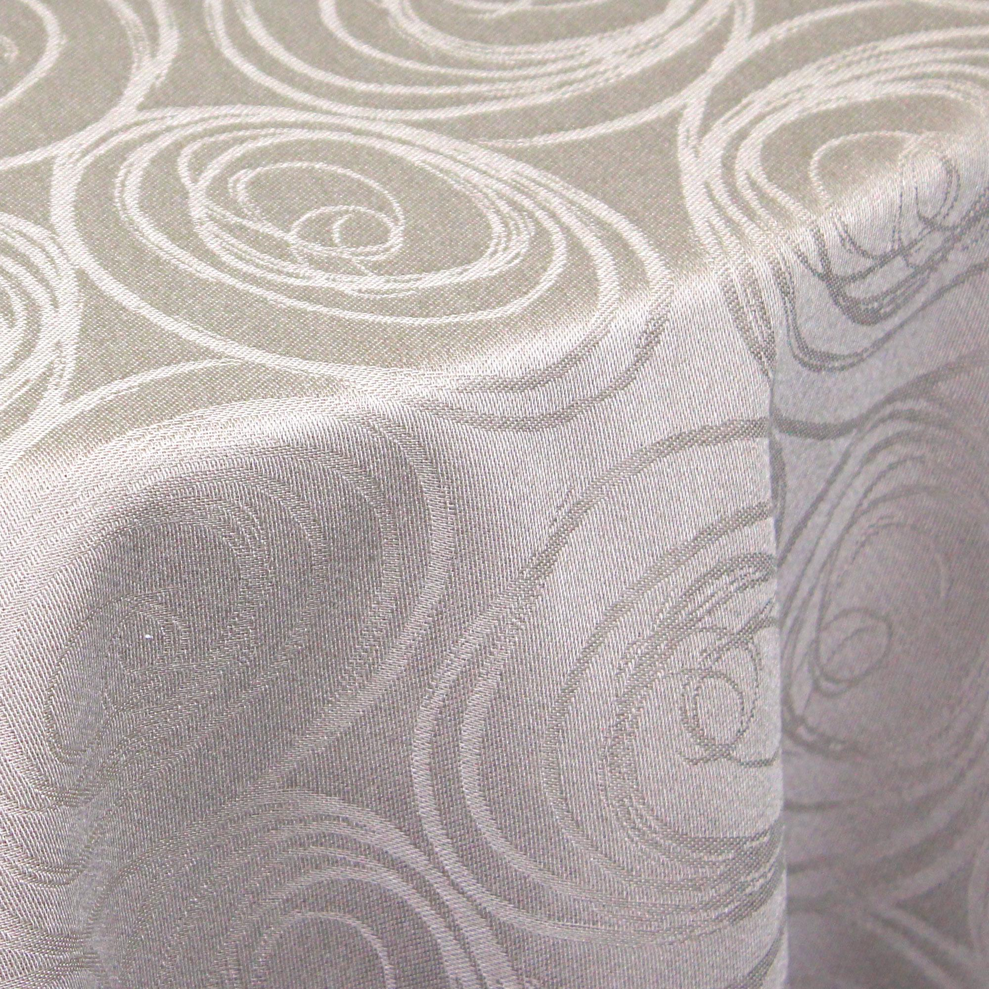 nappe ovale 180x300 cm jacquard 100 coton spirale taupe linnea linge de maison et. Black Bedroom Furniture Sets. Home Design Ideas
