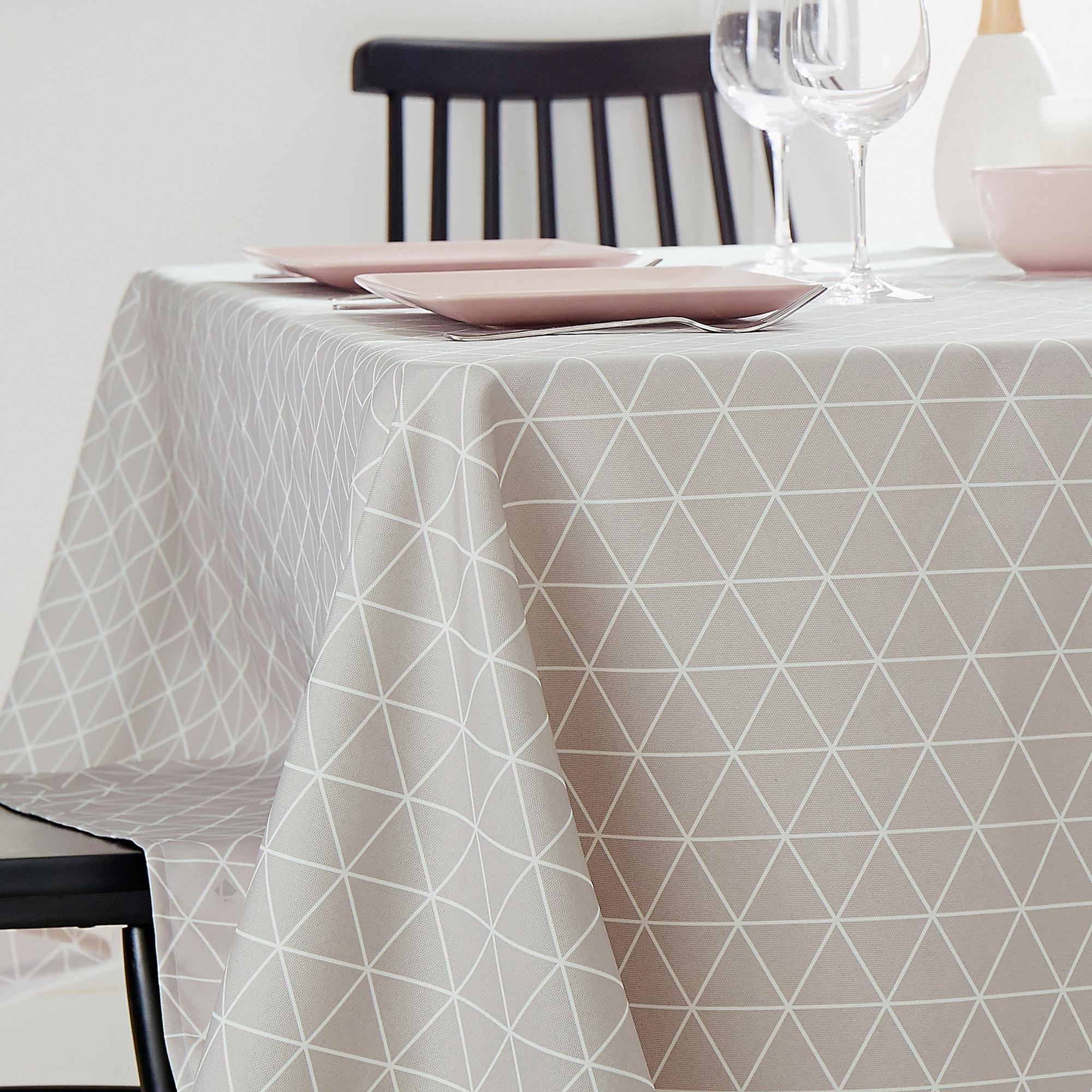 nappe rectangle 150x200 cm imprim e 100 polyester paco g om trique gris linnea linge de. Black Bedroom Furniture Sets. Home Design Ideas