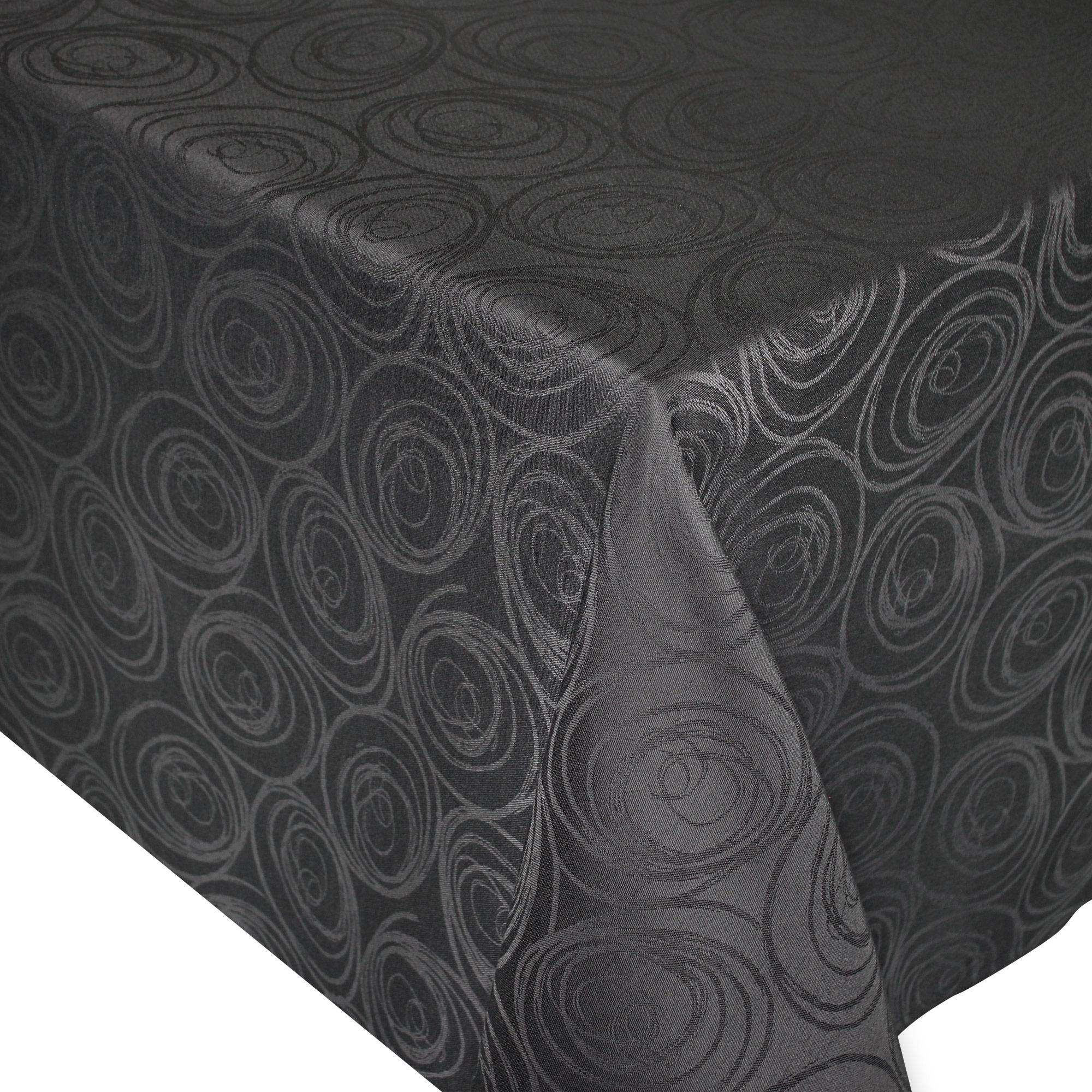 nappe rectangle 150x200 cm jacquard 100 coton spirale anthracite linnea linge de maison et. Black Bedroom Furniture Sets. Home Design Ideas