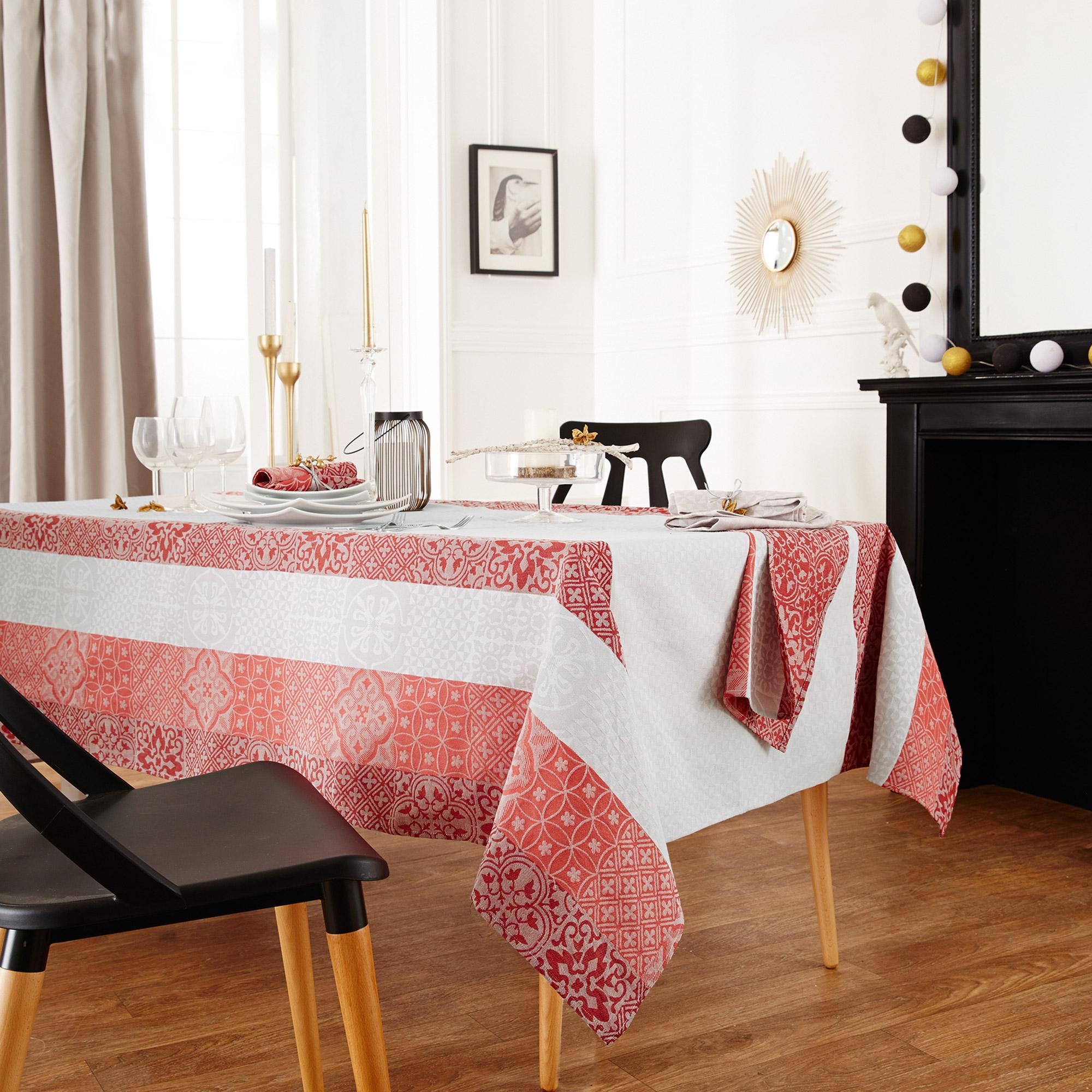 nappe ronde 170 jacquard 100 coton mosaic rubis rouge. Black Bedroom Furniture Sets. Home Design Ideas