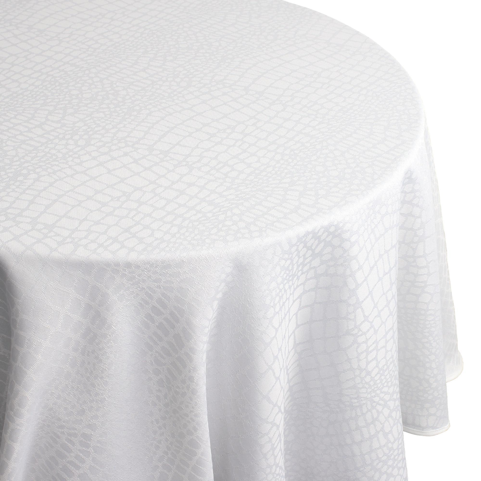 Nappe ronde 180 cm Jacquard 100% polyester LOUNGE blanc