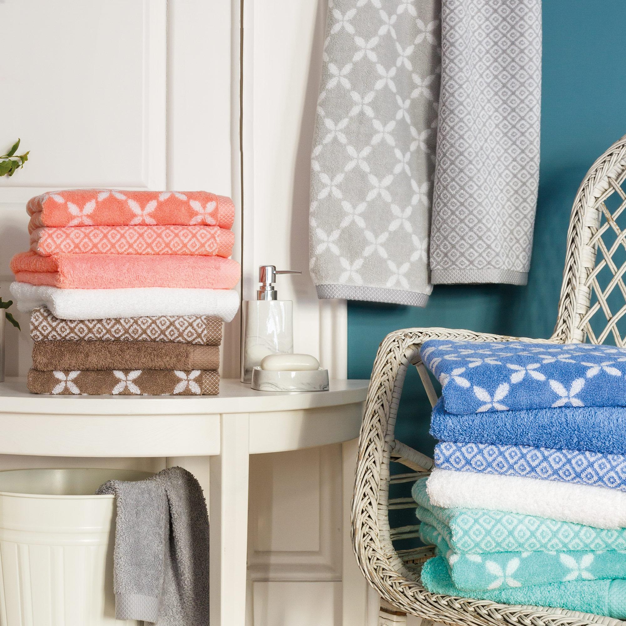 parure de bain 4 pi ces shibori floral beige 100 coton 500g m2 ebay. Black Bedroom Furniture Sets. Home Design Ideas