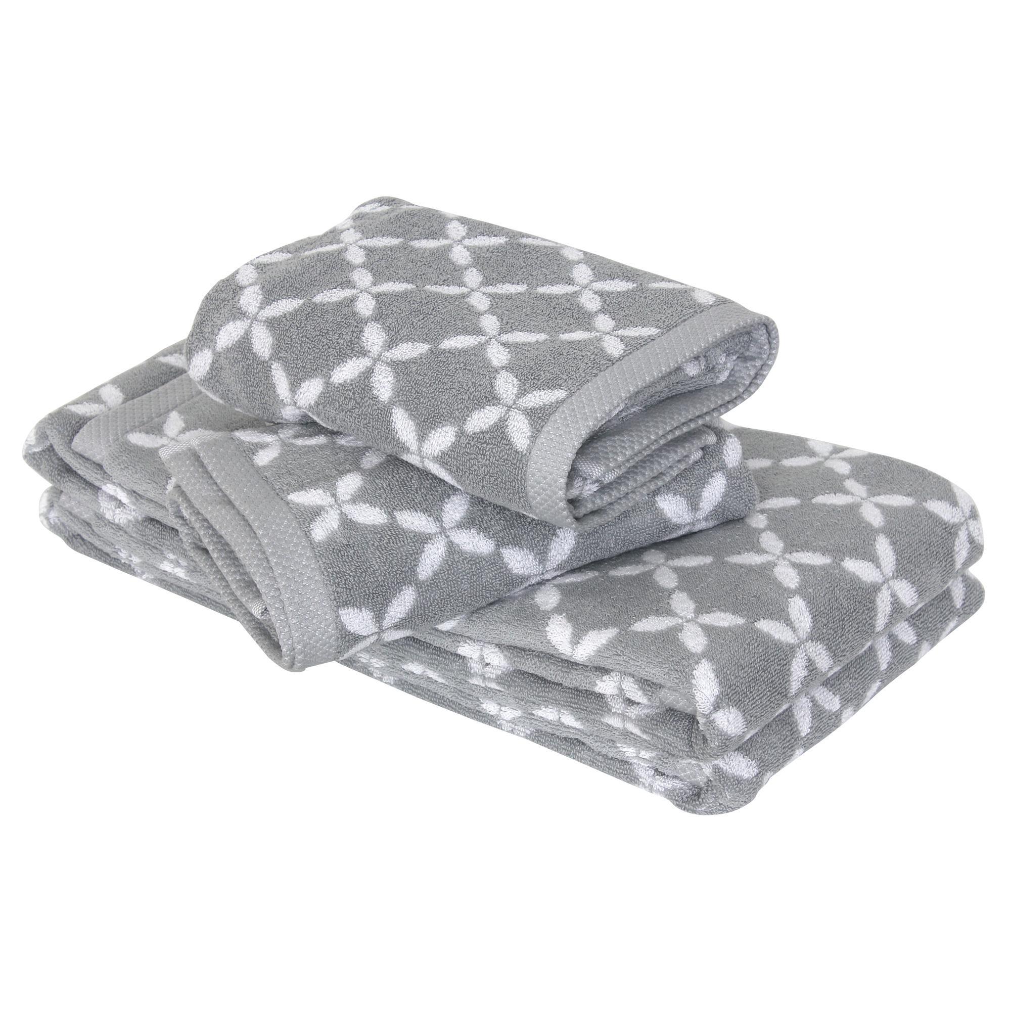 parure de bain 4 pi ces shibori floral gris linnea linge de maison et. Black Bedroom Furniture Sets. Home Design Ideas