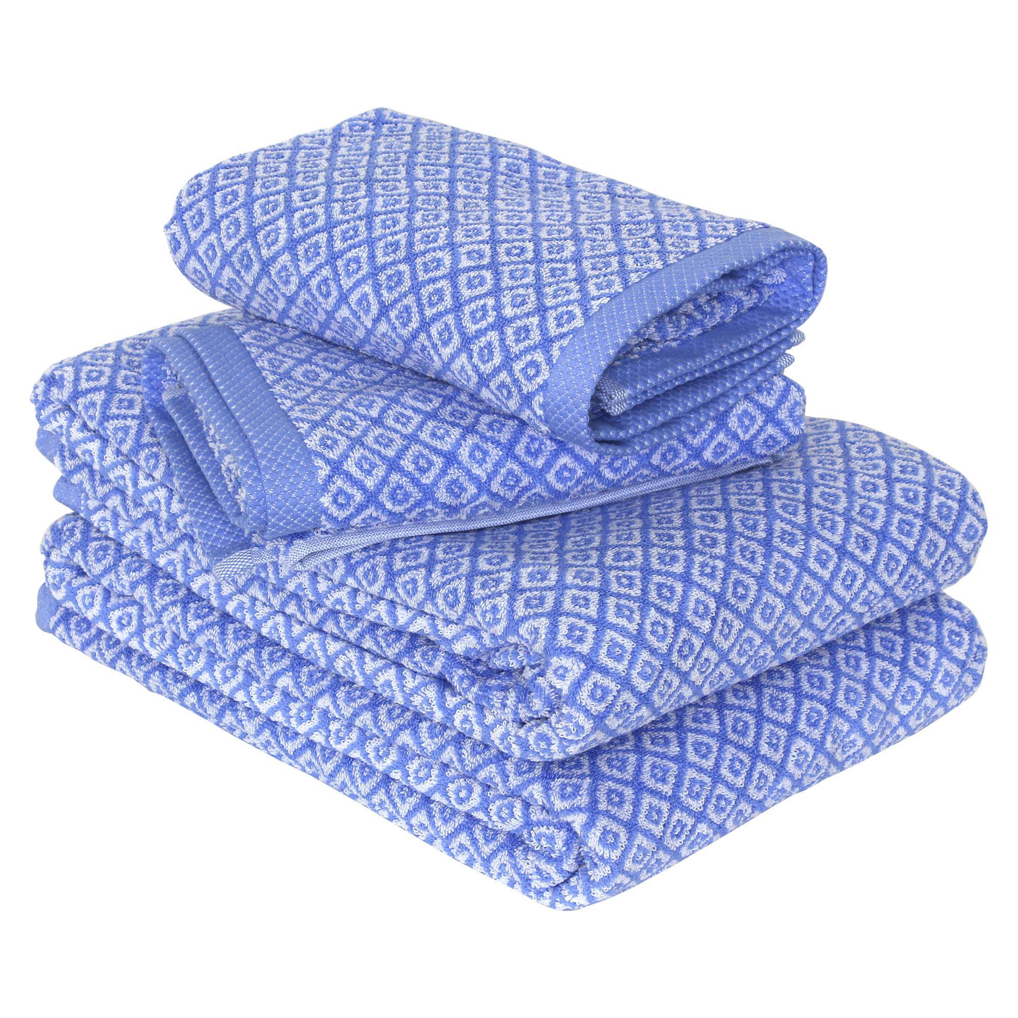 parure de bain 4 pi ces shibori mosaic bleu linnea linge de maison et. Black Bedroom Furniture Sets. Home Design Ideas