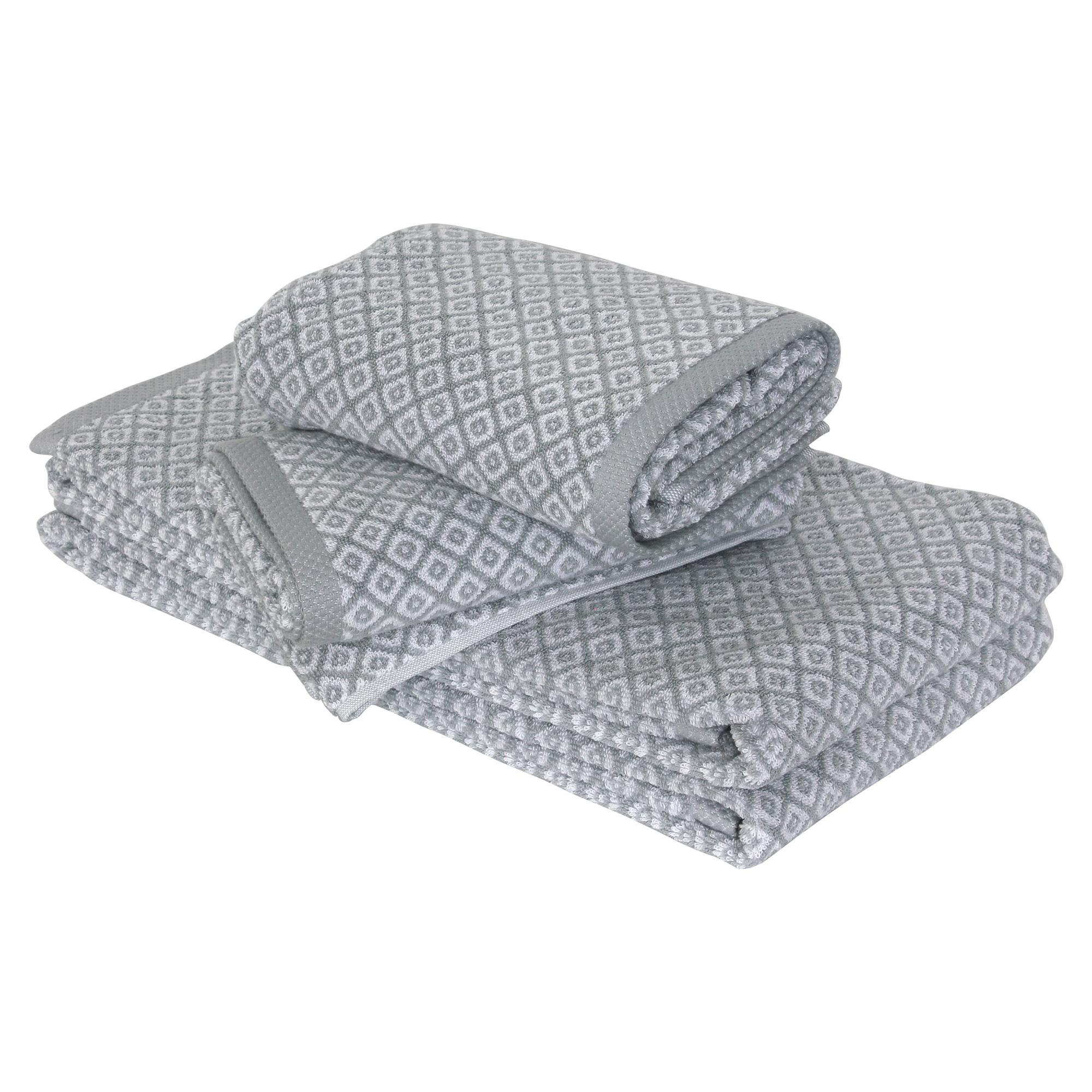 parure de bain 4 pi ces douche shibori mosaic gris 100 coton 500g m2 ebay. Black Bedroom Furniture Sets. Home Design Ideas