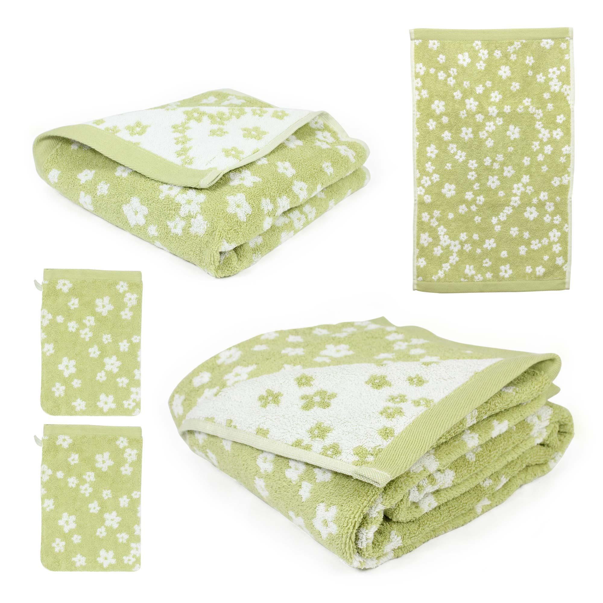 parure de bain 5 pi ces coton facile vert linnea linge de maison et. Black Bedroom Furniture Sets. Home Design Ideas