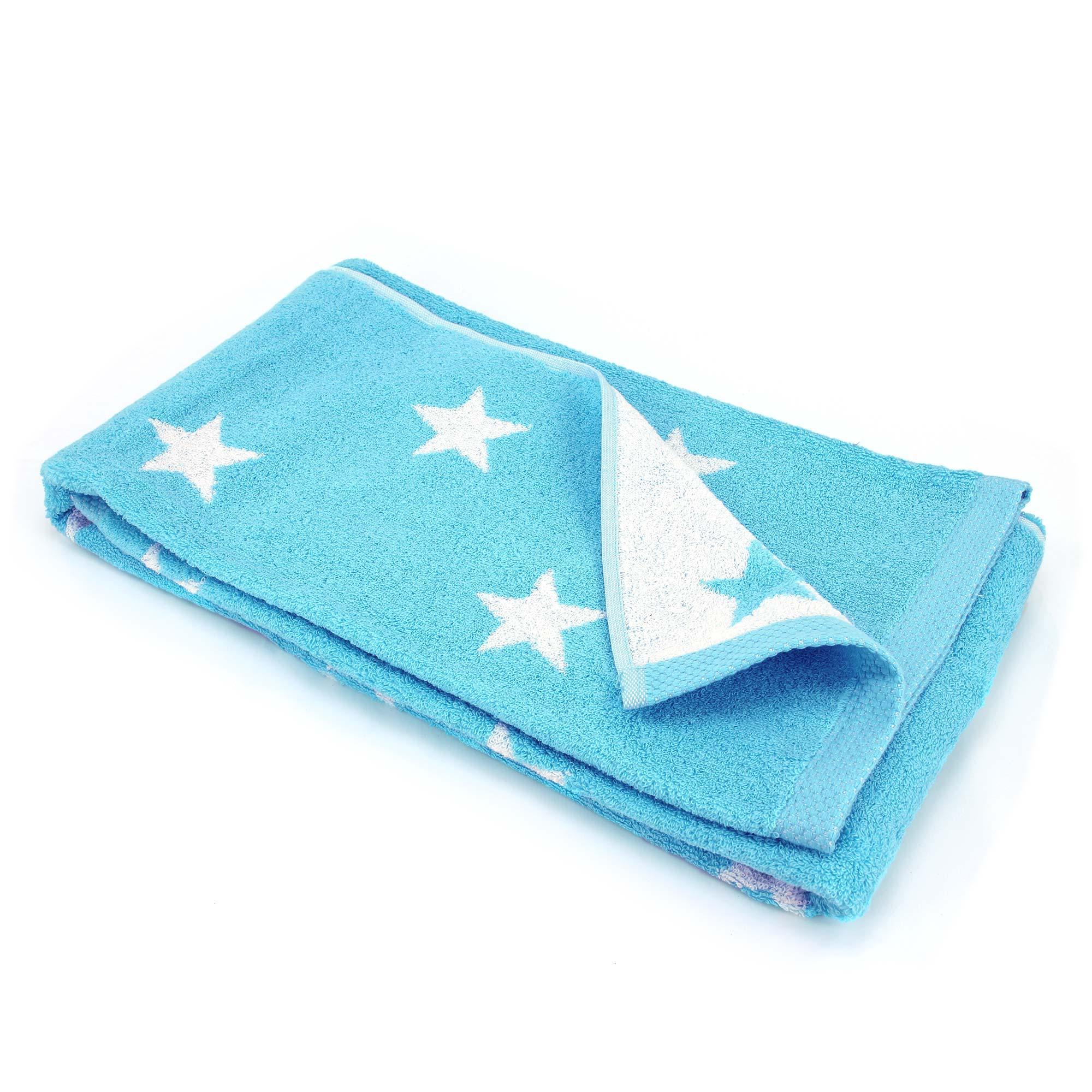 parure de bain 5 pi ces cm coton stars bleu turquoise linnea linge de maison et. Black Bedroom Furniture Sets. Home Design Ideas