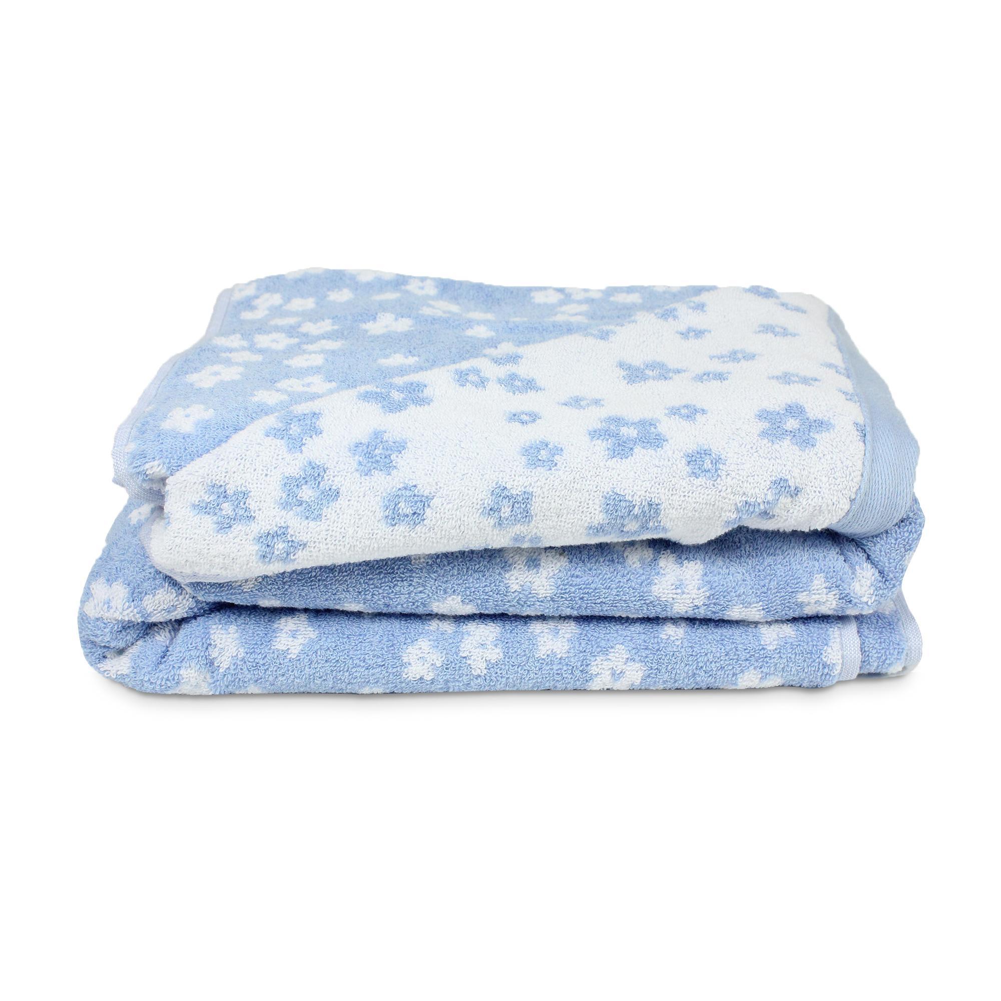 parure de bain 7 pi ces coton facile bleu linnea linge de maison et. Black Bedroom Furniture Sets. Home Design Ideas