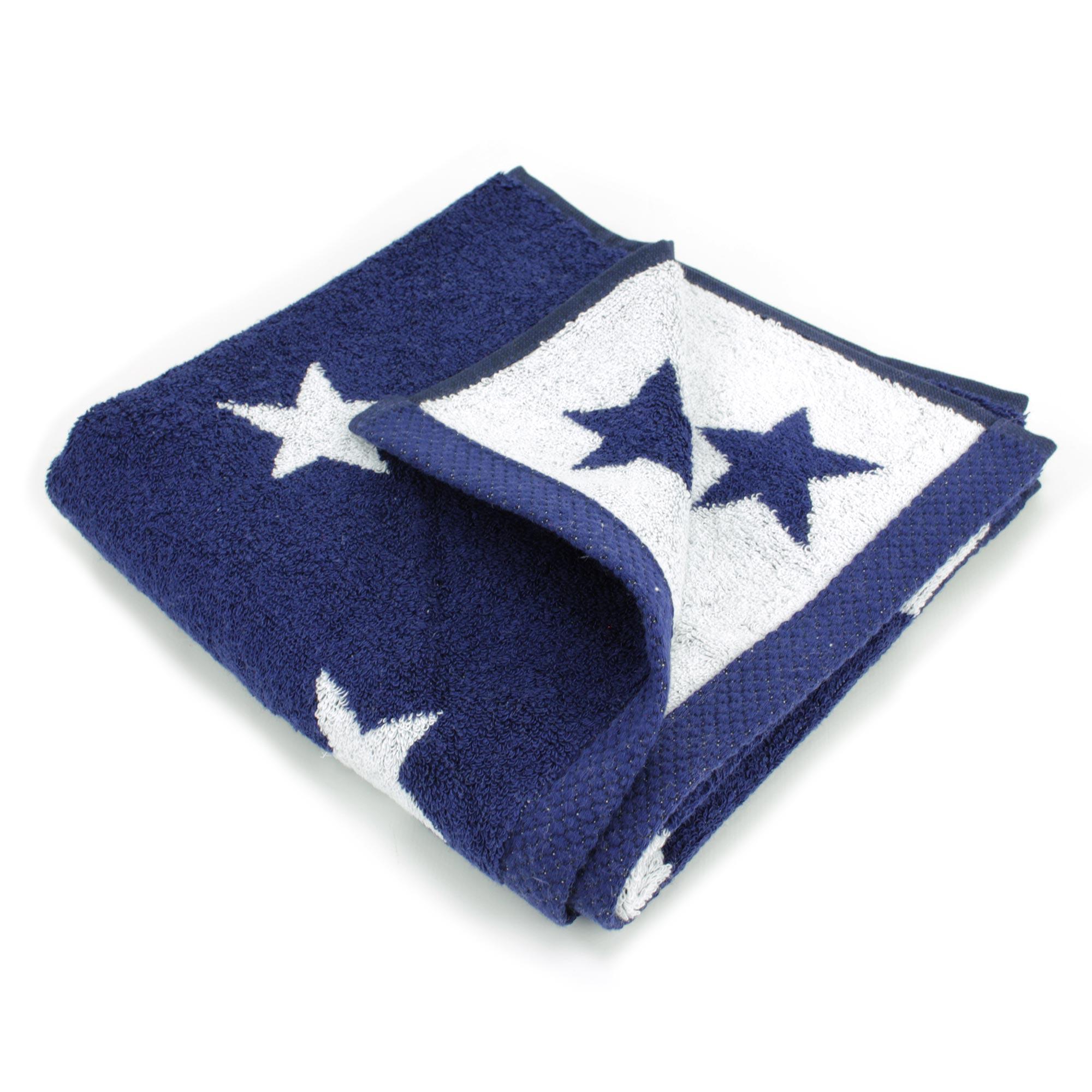 parure de bain 7 pi ces cm coton stars bleu marine linnea vente de linge de maison. Black Bedroom Furniture Sets. Home Design Ideas