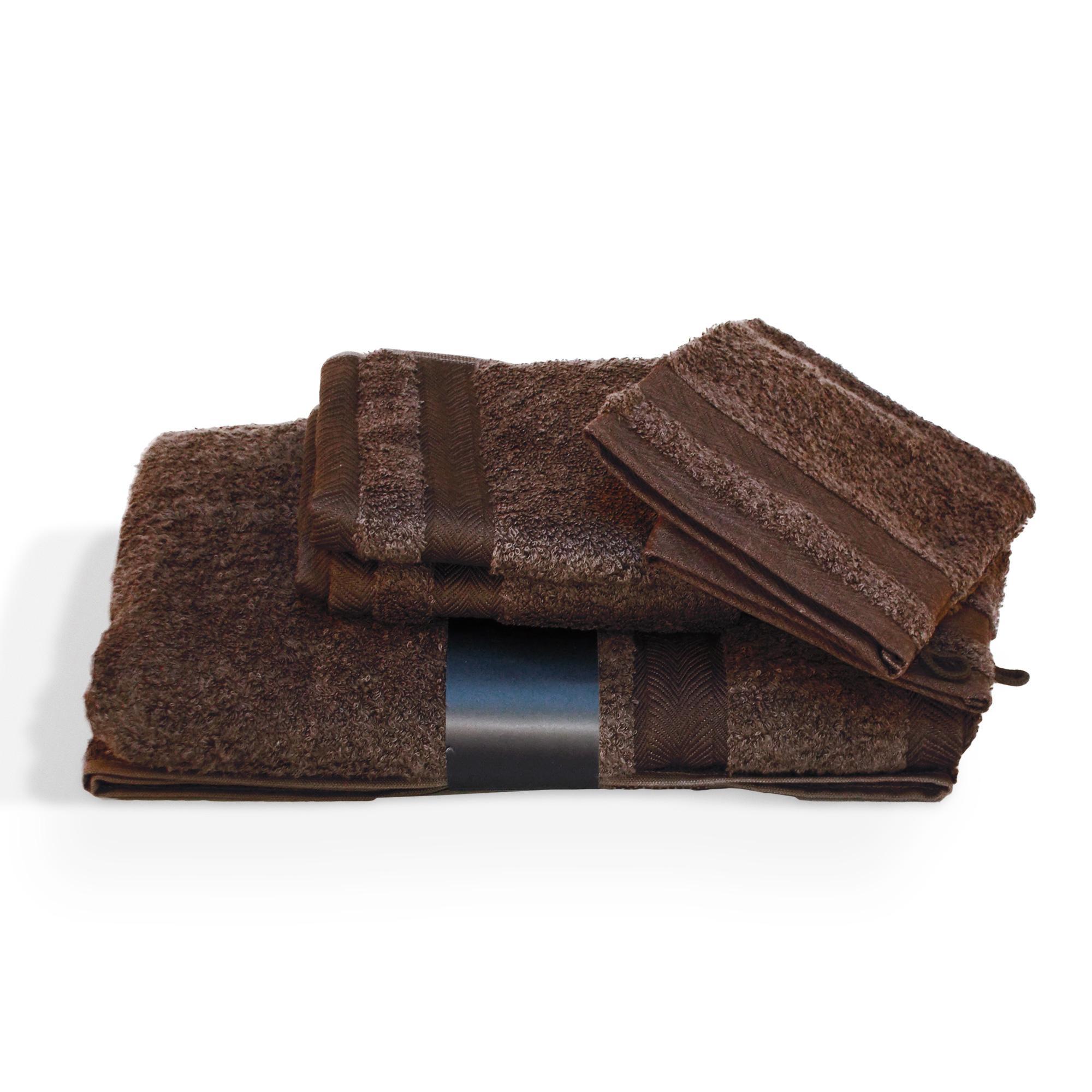 parure de bain 5 pi ces royal cresent chocolat 650g m2 ebay. Black Bedroom Furniture Sets. Home Design Ideas