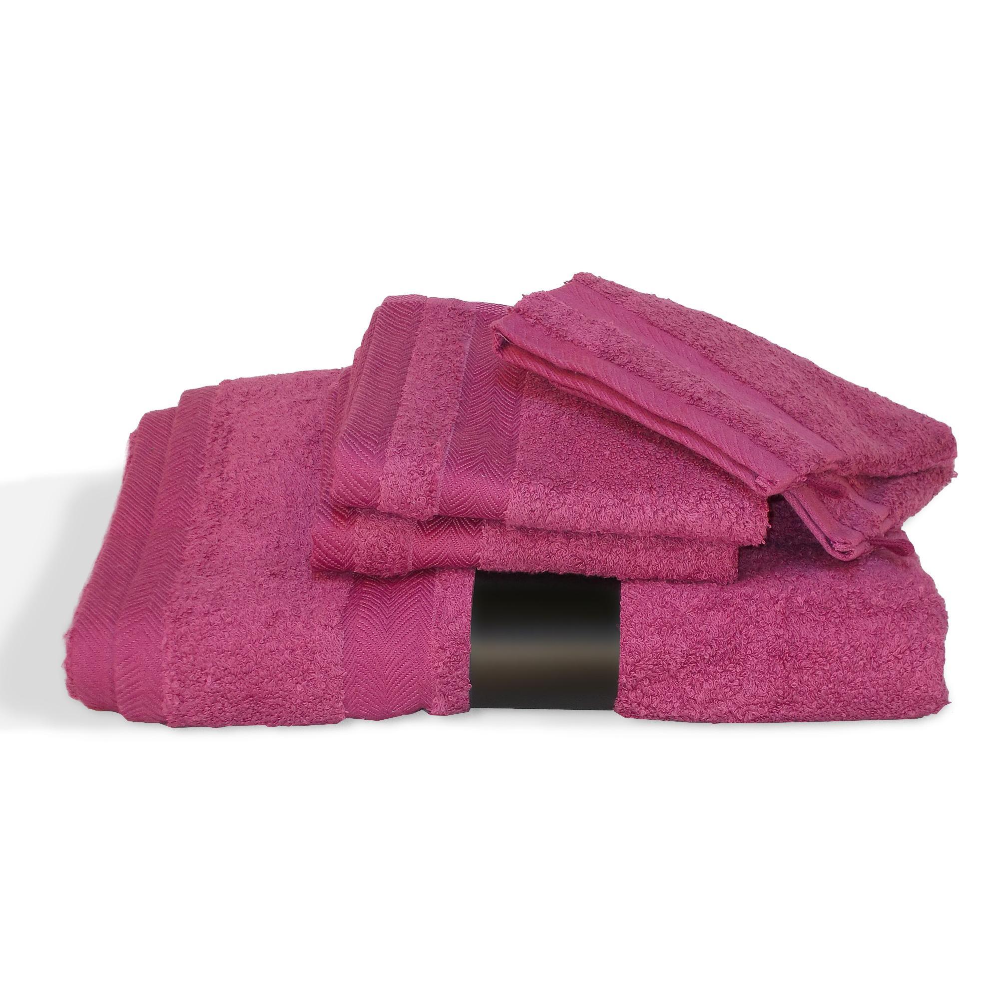 parure de bain 5 pi ces royal cresent rose vin 650g m2 ebay. Black Bedroom Furniture Sets. Home Design Ideas