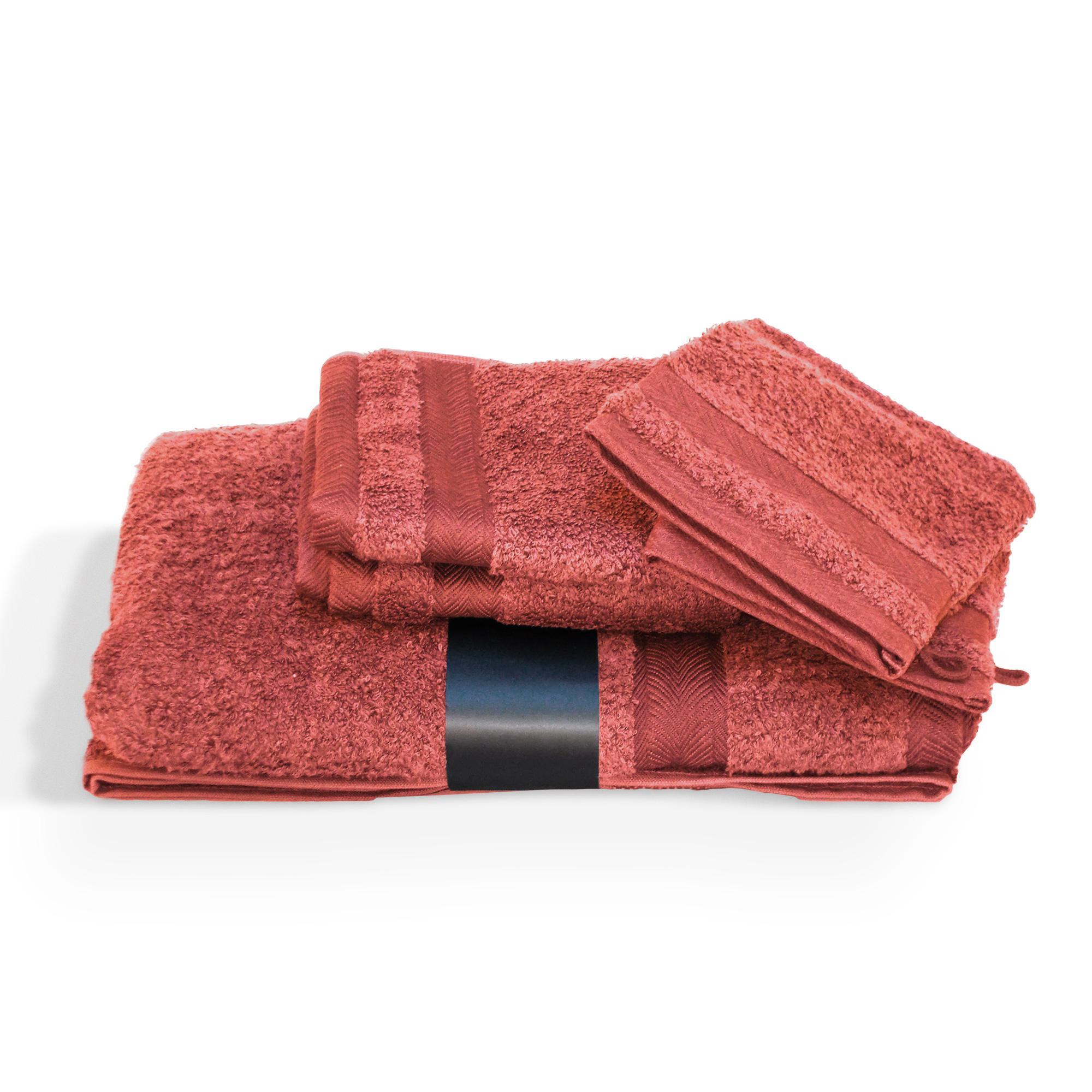 parure de bain 5 pieces coton uni royal cresent rouge terre cuite linnea linge de maison et. Black Bedroom Furniture Sets. Home Design Ideas