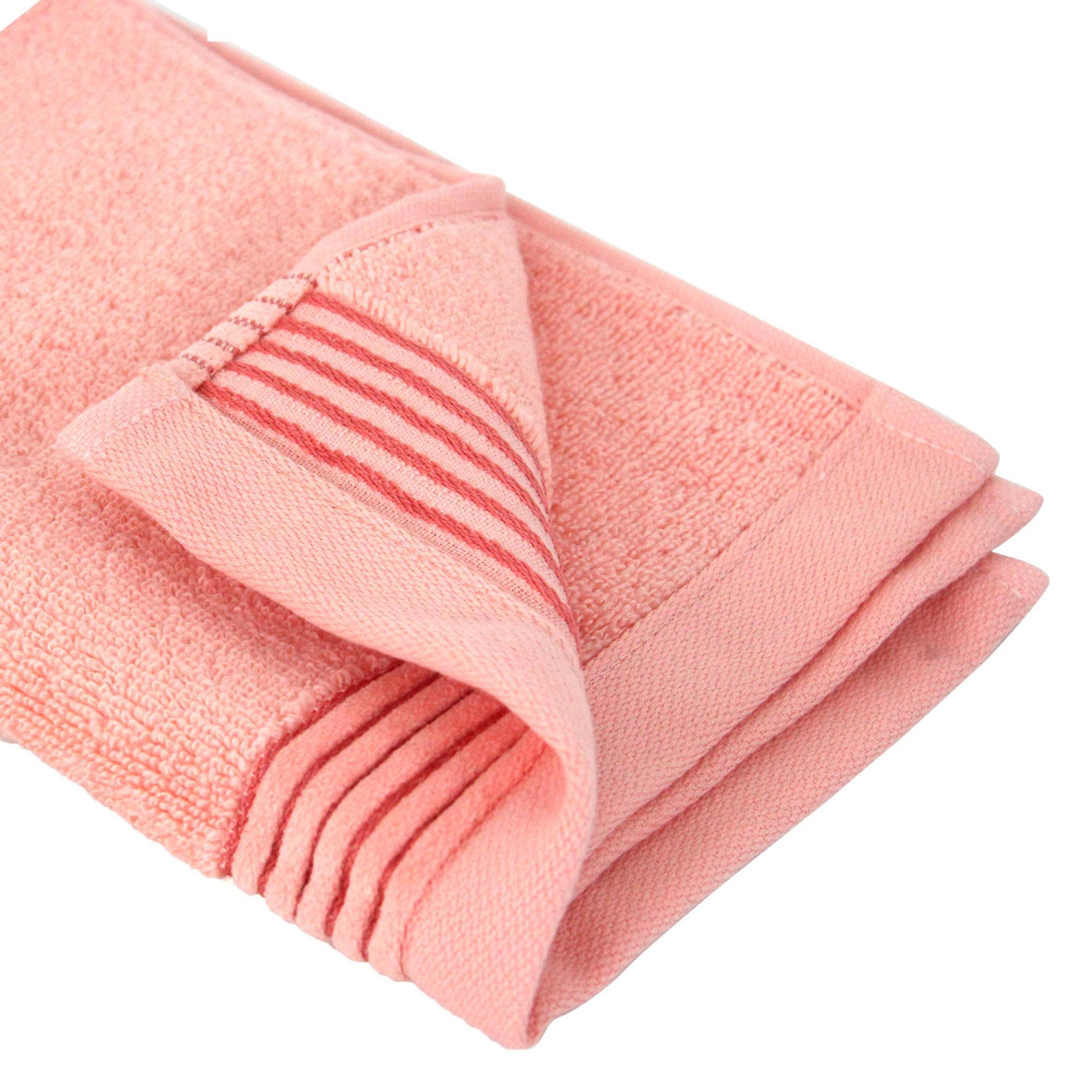 parure de bain 6 pi ces juliet rose bonbon 520 g m2 linnea linge de maison et. Black Bedroom Furniture Sets. Home Design Ideas
