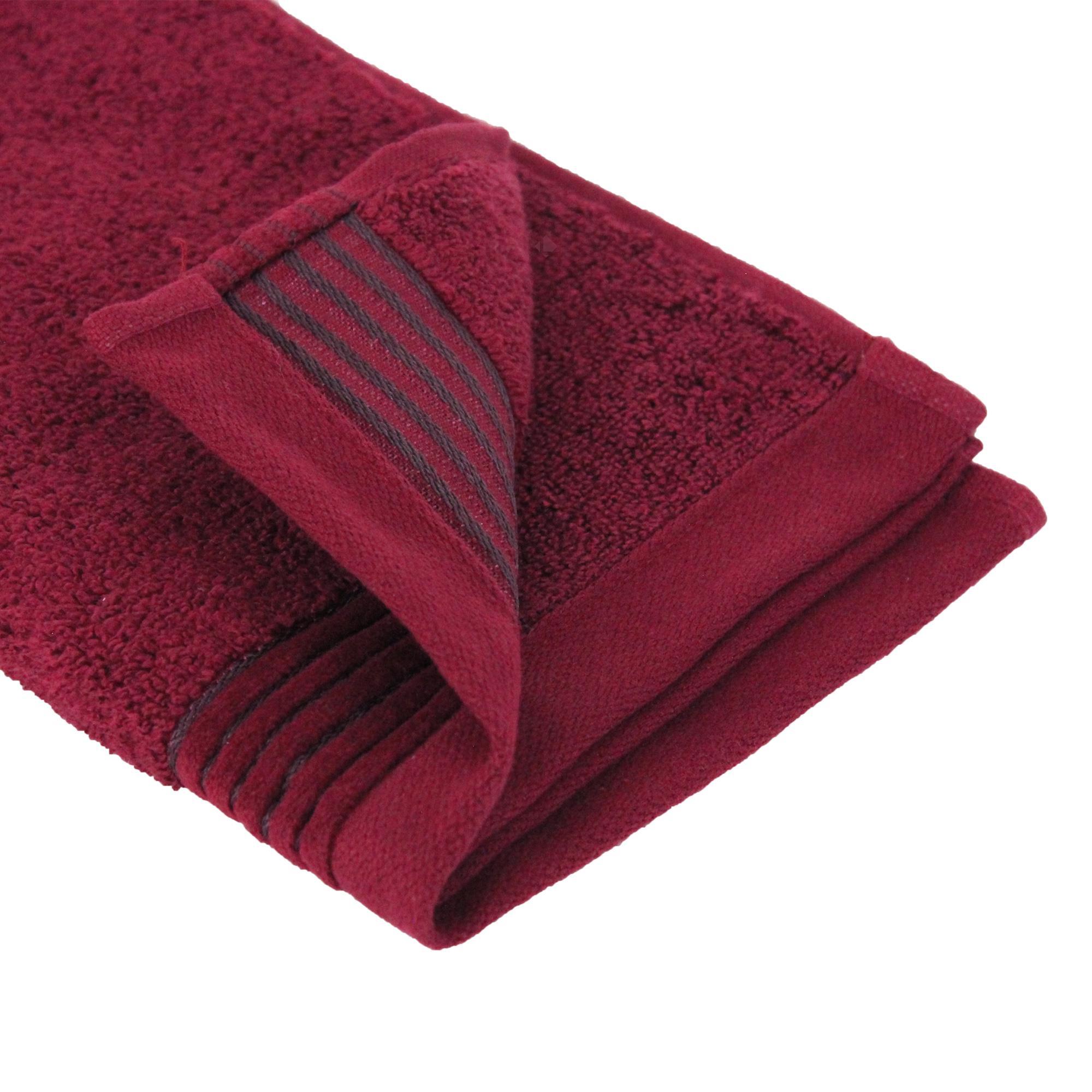 parure de bain 6 pi ces juliet rouge bordeaux 520 g m2 linnea linge de maison et. Black Bedroom Furniture Sets. Home Design Ideas
