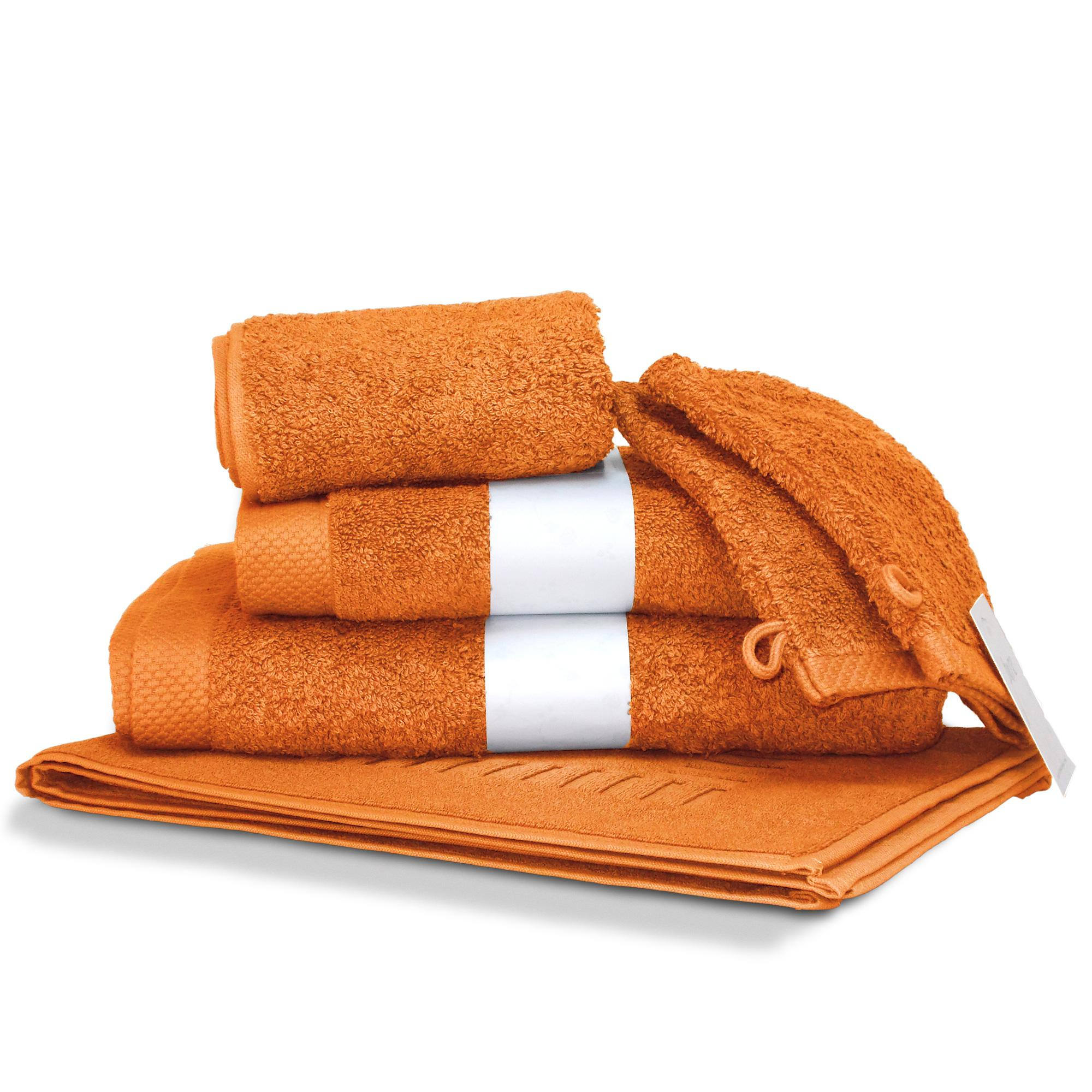 parure de bain coton 6 pi ces uni pure orange butane linnea linge de maison et. Black Bedroom Furniture Sets. Home Design Ideas