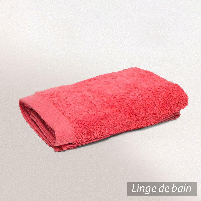 parure de bain coton 6 pi ces uni pure rouge fraise linnea vente de linge de maison. Black Bedroom Furniture Sets. Home Design Ideas