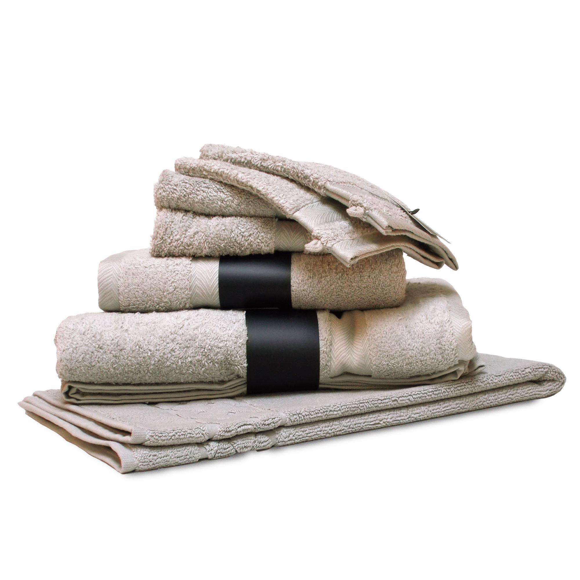 parure de bain 7 pieces coton uni royal cresent gris craie linnea linge de maison et. Black Bedroom Furniture Sets. Home Design Ideas