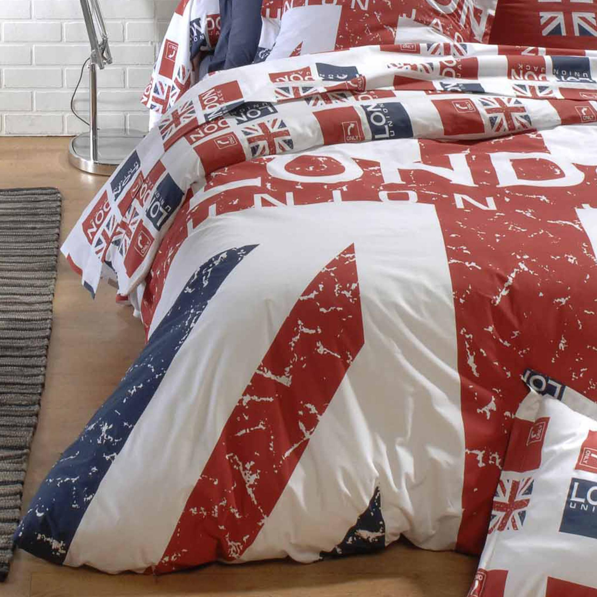 parure de lit 140x200 100 coton london union jack ebay. Black Bedroom Furniture Sets. Home Design Ideas