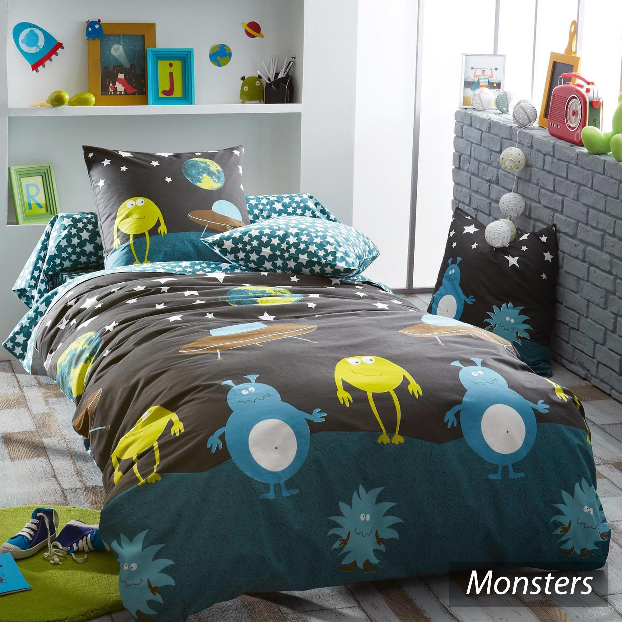 parure de lit 140x200 cm 100 coton monsters. Black Bedroom Furniture Sets. Home Design Ideas