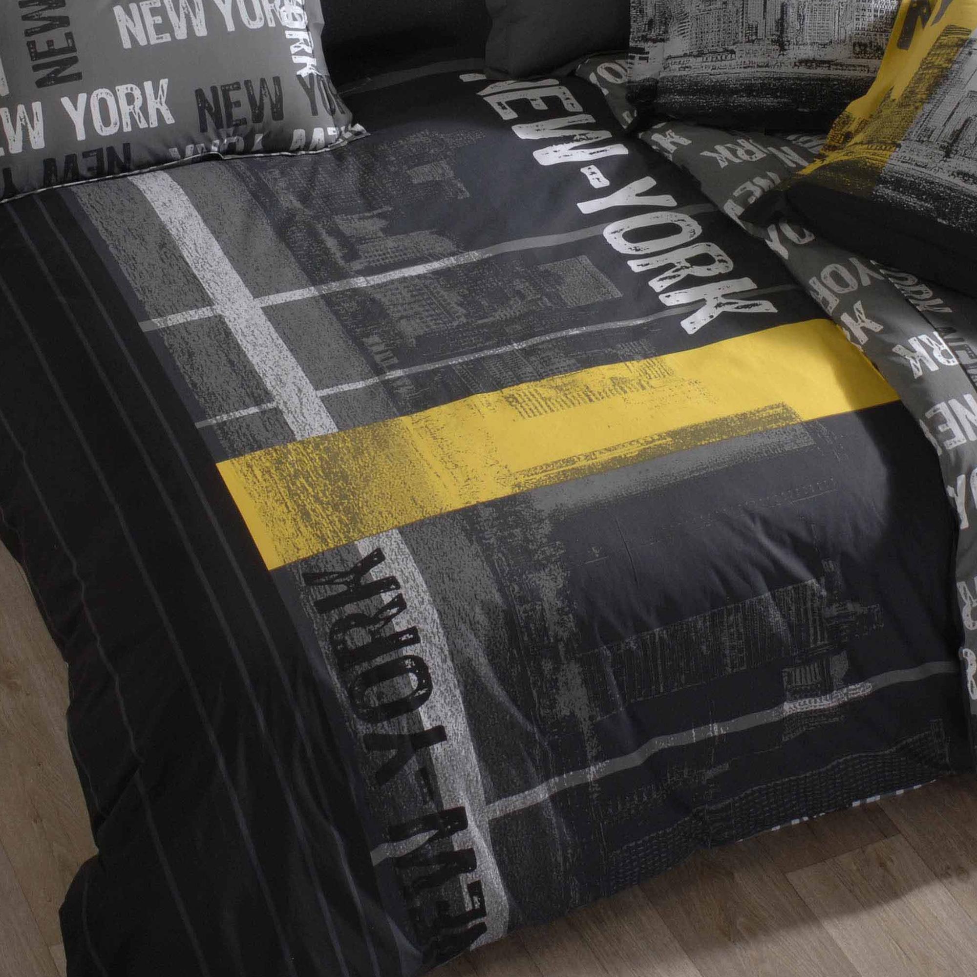 parure de lit 140x200 100 coton new york ebay. Black Bedroom Furniture Sets. Home Design Ideas