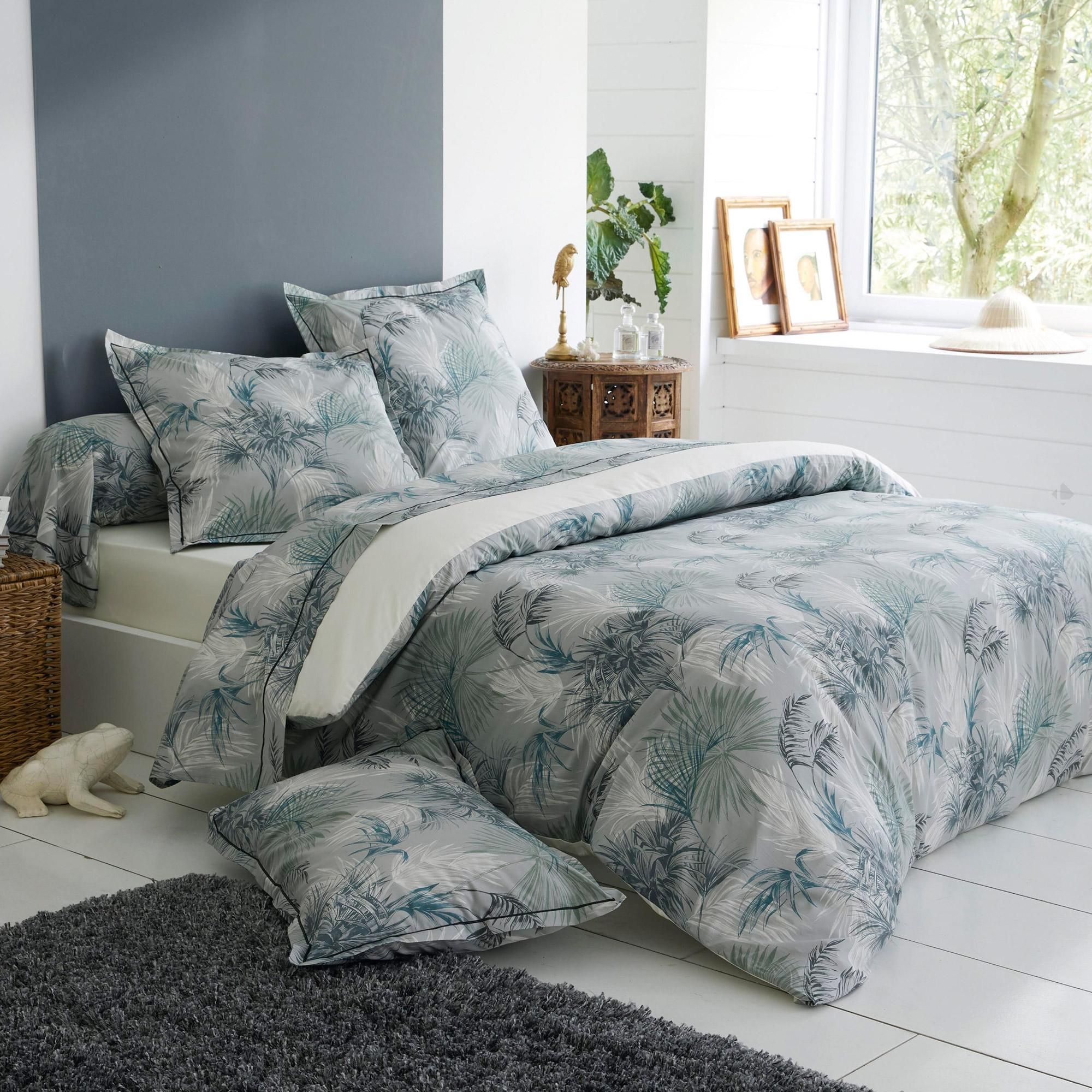 parure de lit 140x200 cm percale 100 coton tropical gris. Black Bedroom Furniture Sets. Home Design Ideas