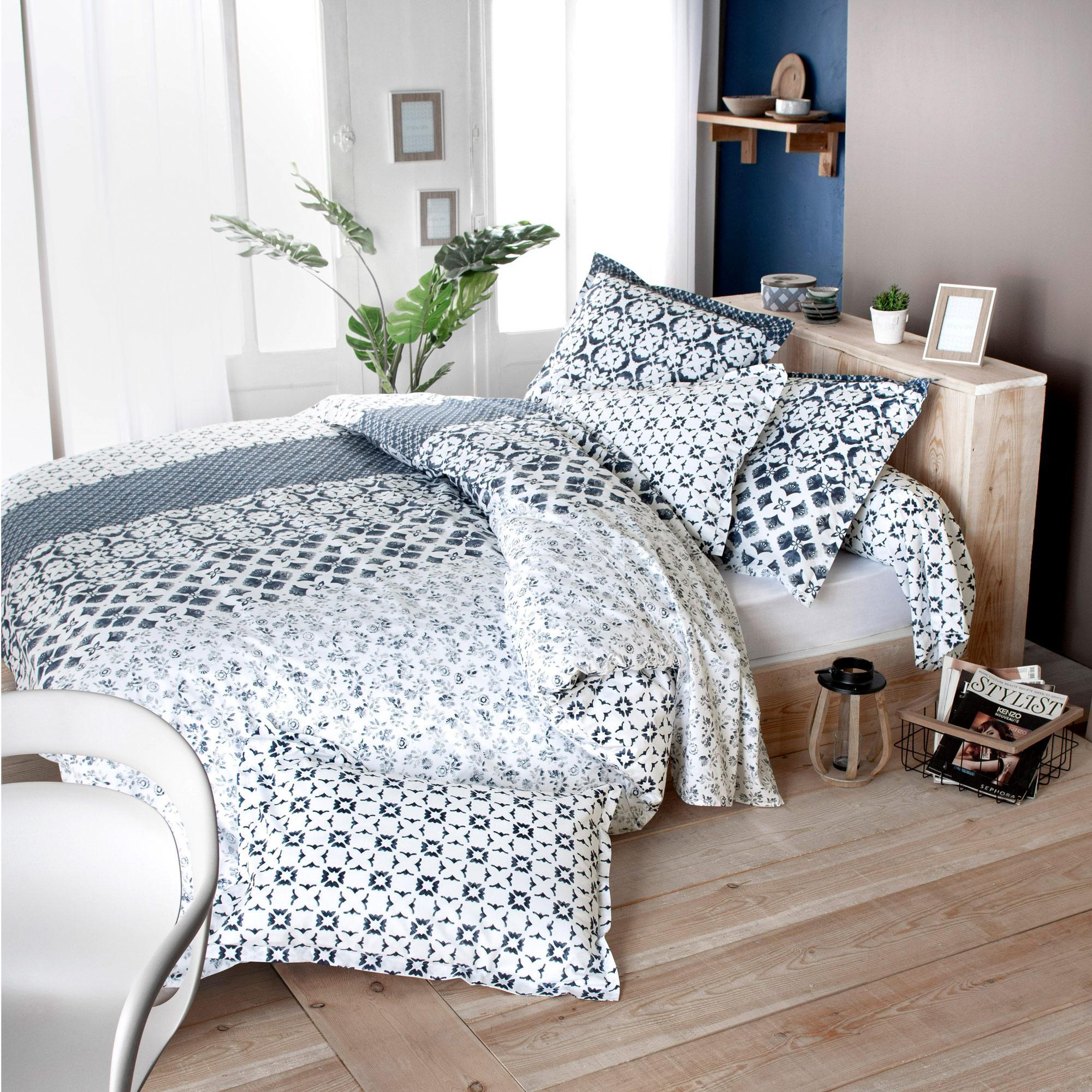 Parure De Lit 200x200.Parure De Lit 200x200 Cm 100 Coton Padang Bleu 3 Pieces