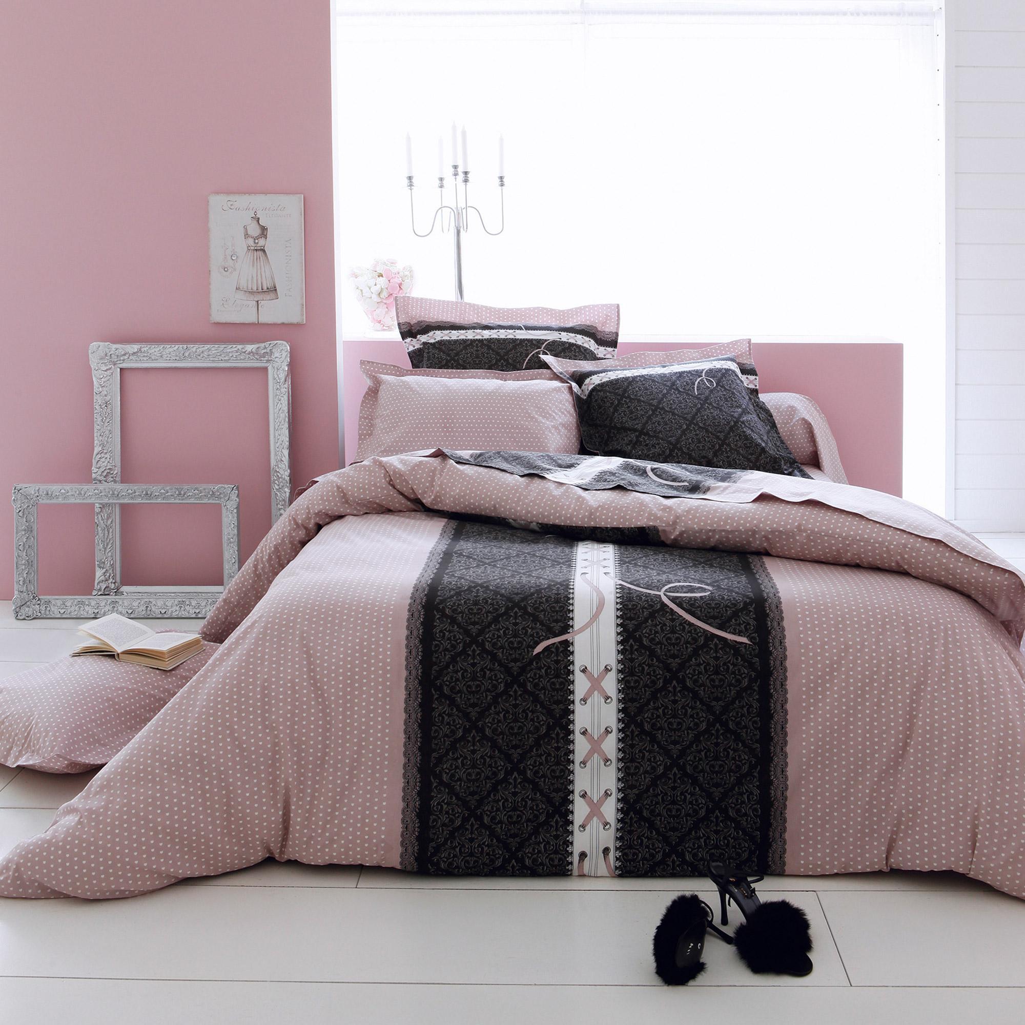 Parure De Lit 240x220 Cm 100 Coton Glamour Rose 3 Pièces Linnea