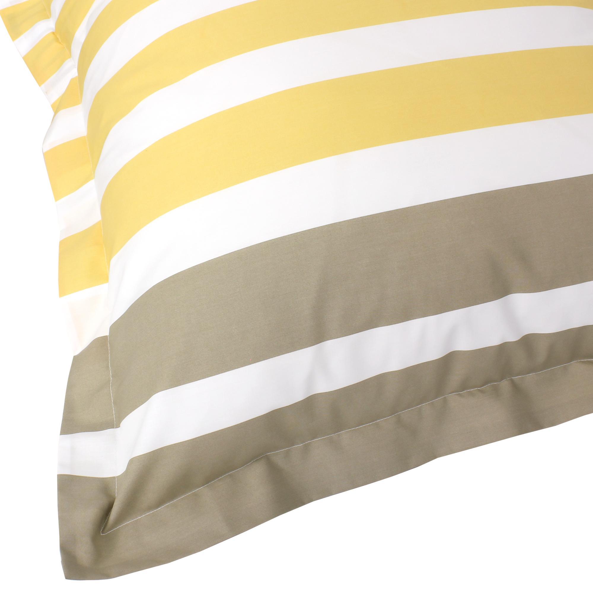 parure de lit 240x220 percale pur coton stripe narcisse jaune 3 pi ces ebay. Black Bedroom Furniture Sets. Home Design Ideas