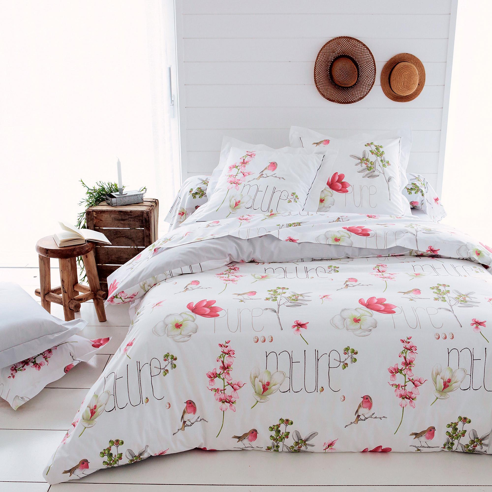 parure de lit 260x240 cm percale pur coton pure nature blanc 3 pi ces linnea linge de maison et. Black Bedroom Furniture Sets. Home Design Ideas