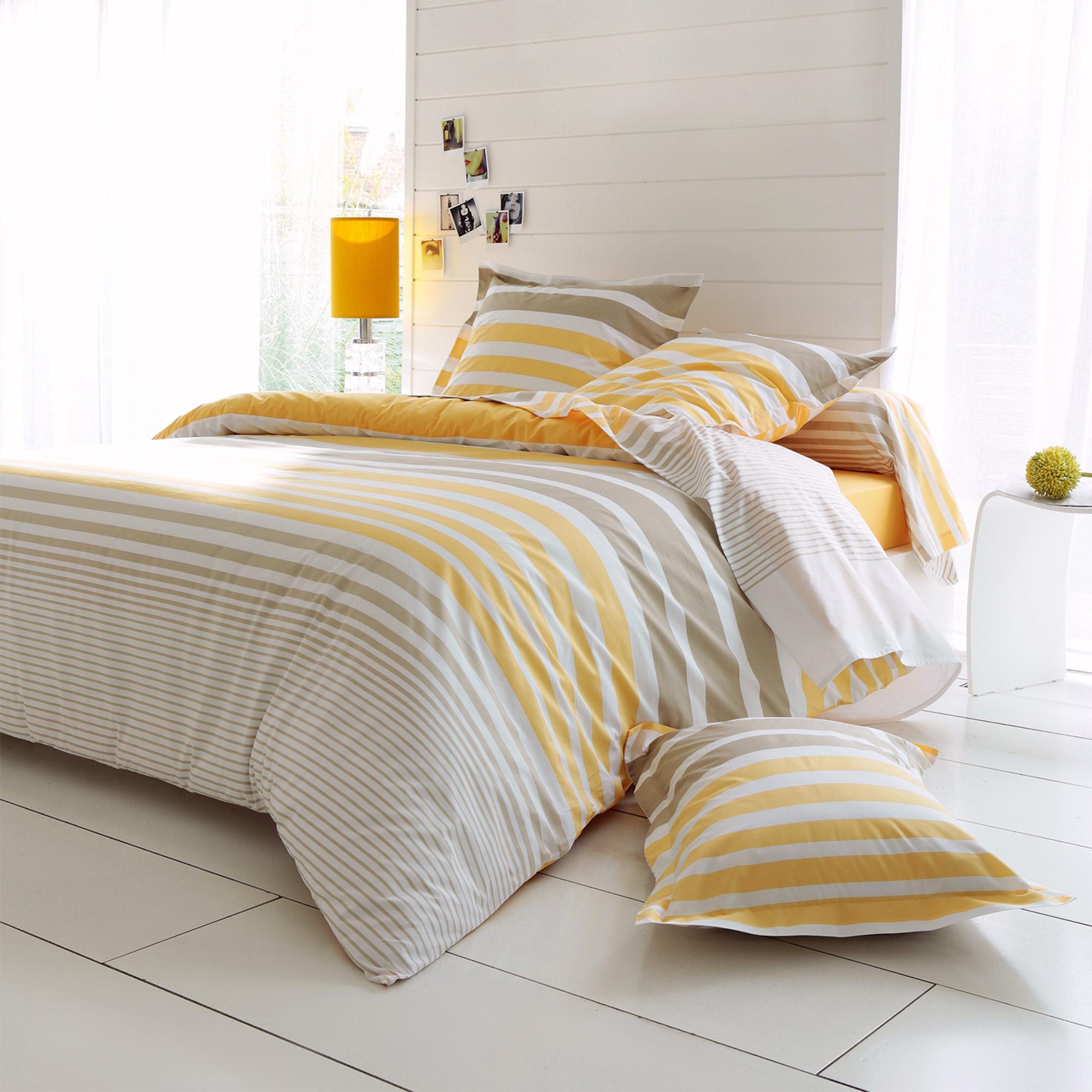 parure de lit 260x240 cm percale pur coton stripe narcisse jaune 3 pi ces linnea linge de. Black Bedroom Furniture Sets. Home Design Ideas