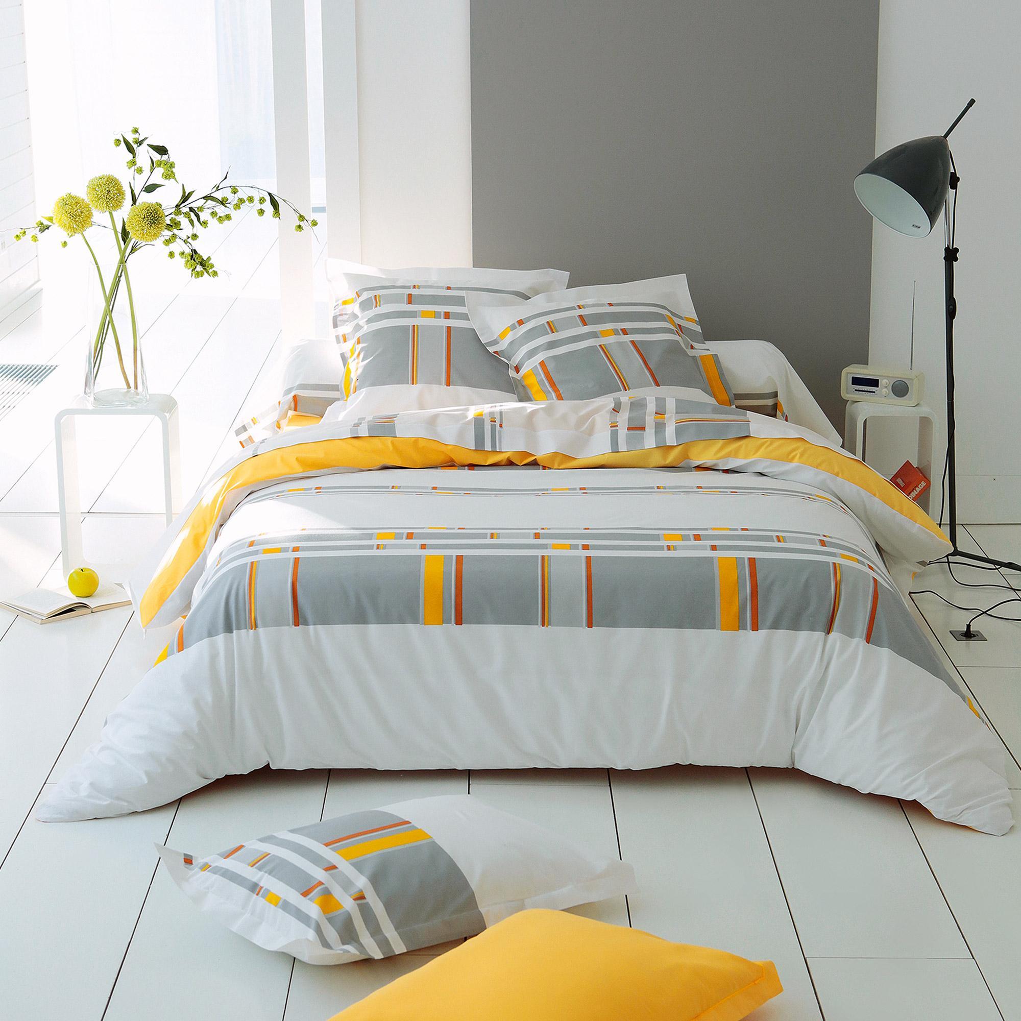parure de lit 260x240 cm 100 coton zeste 3 pi ces linnea linge de maison et. Black Bedroom Furniture Sets. Home Design Ideas