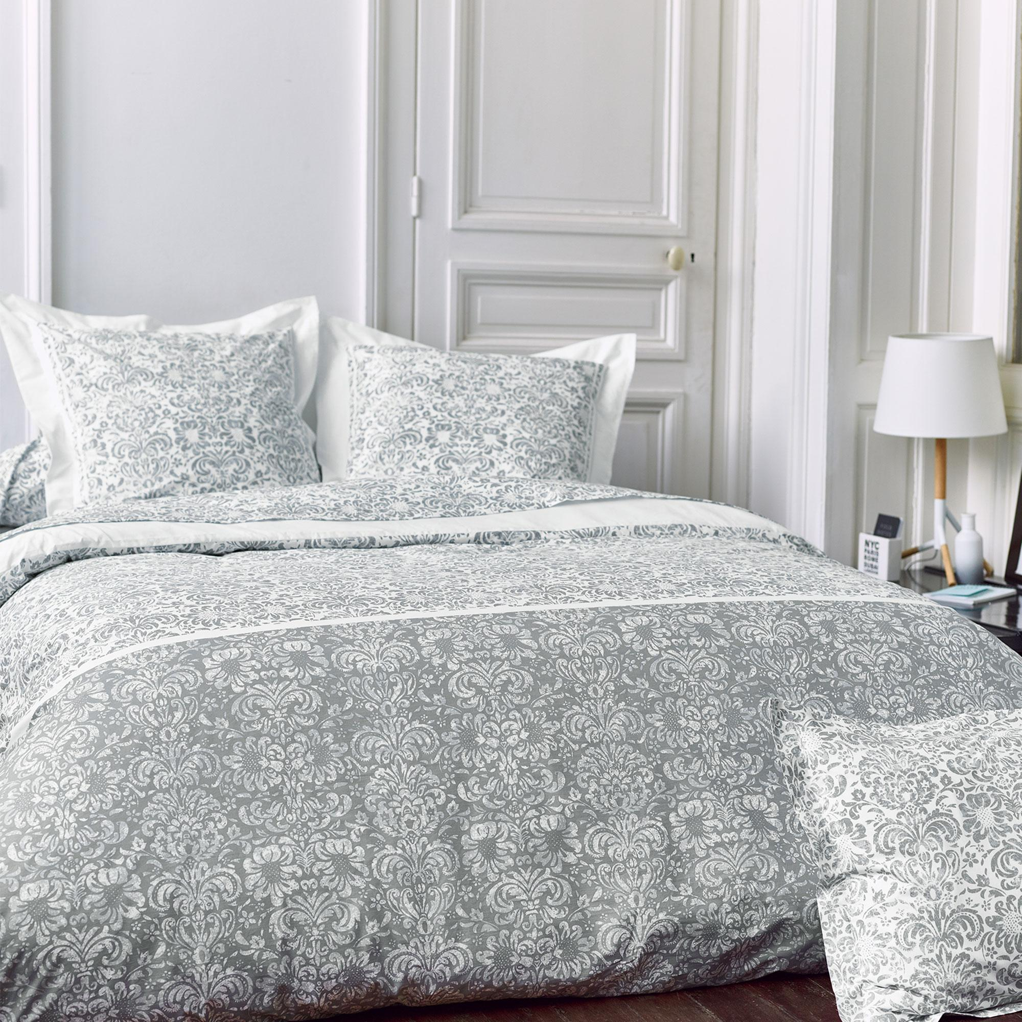 parure de lit 300x240 cm percale pur coton amboise gris 3 pi ces linnea linge de maison et. Black Bedroom Furniture Sets. Home Design Ideas